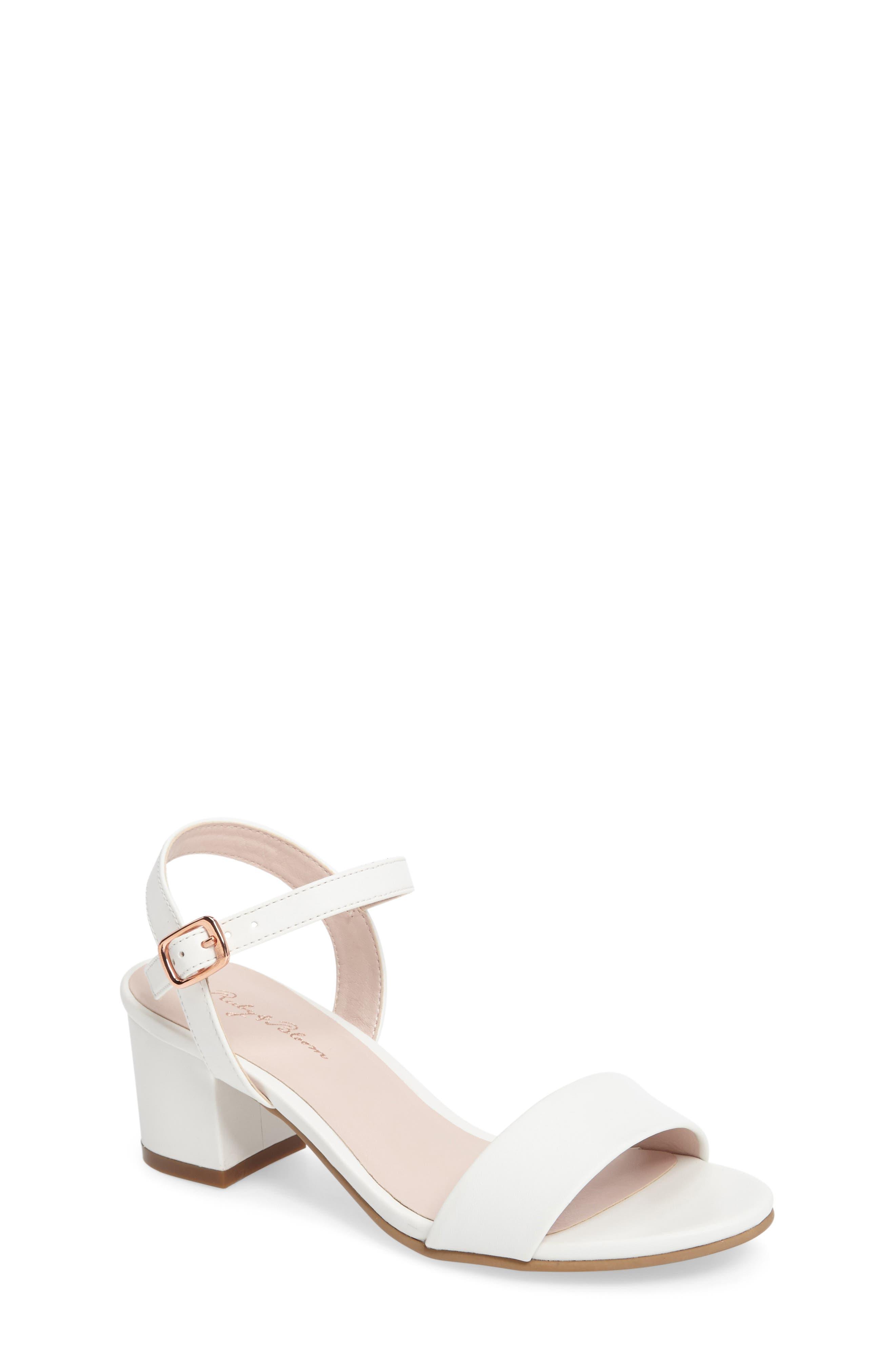 Danni Block Heel Sandal,                             Main thumbnail 1, color,                             WHITE FAUX LEATHER