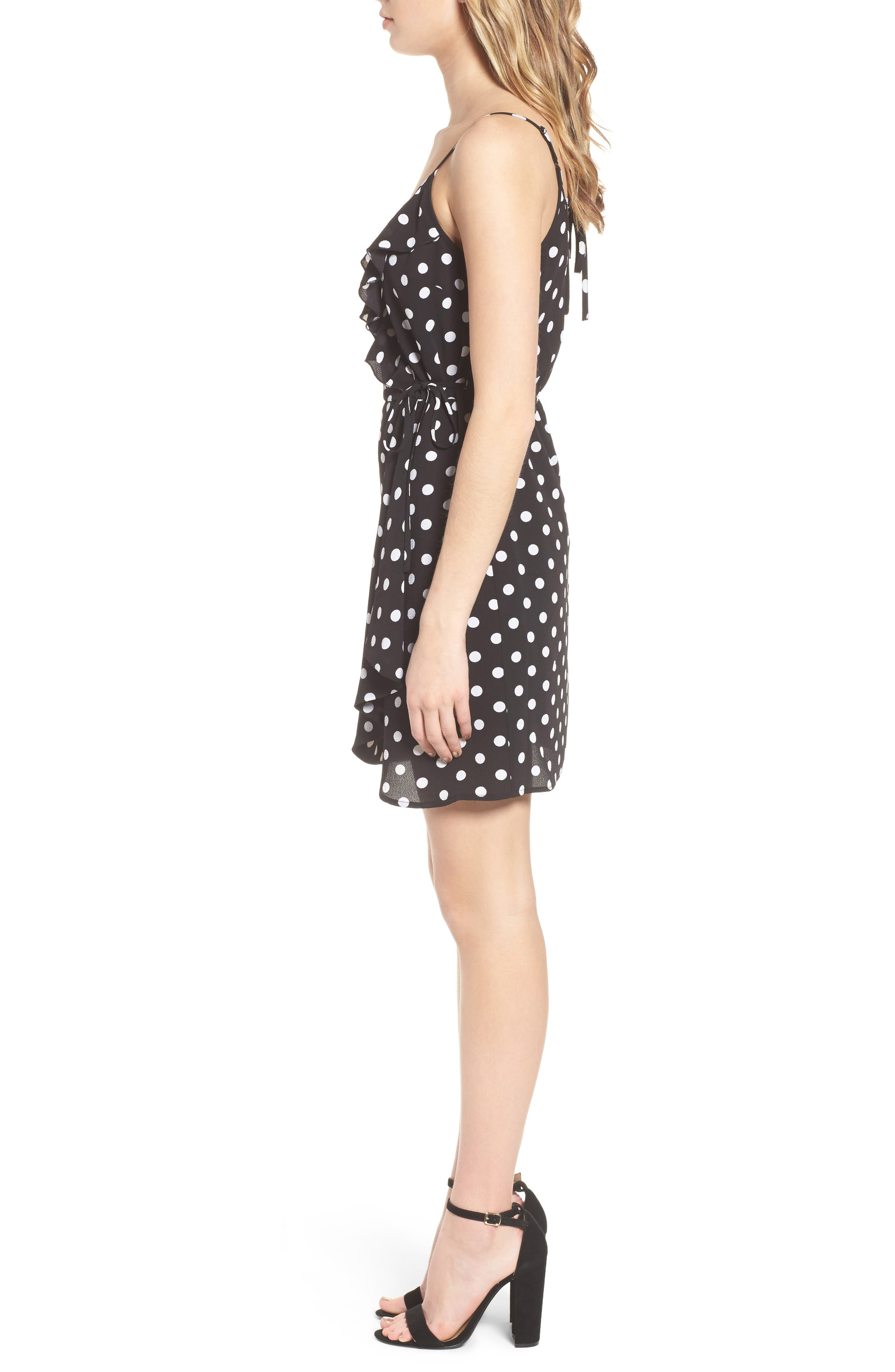 Polka Dot Faux Wrap Dress,                             Alternate thumbnail 3, color,                             001