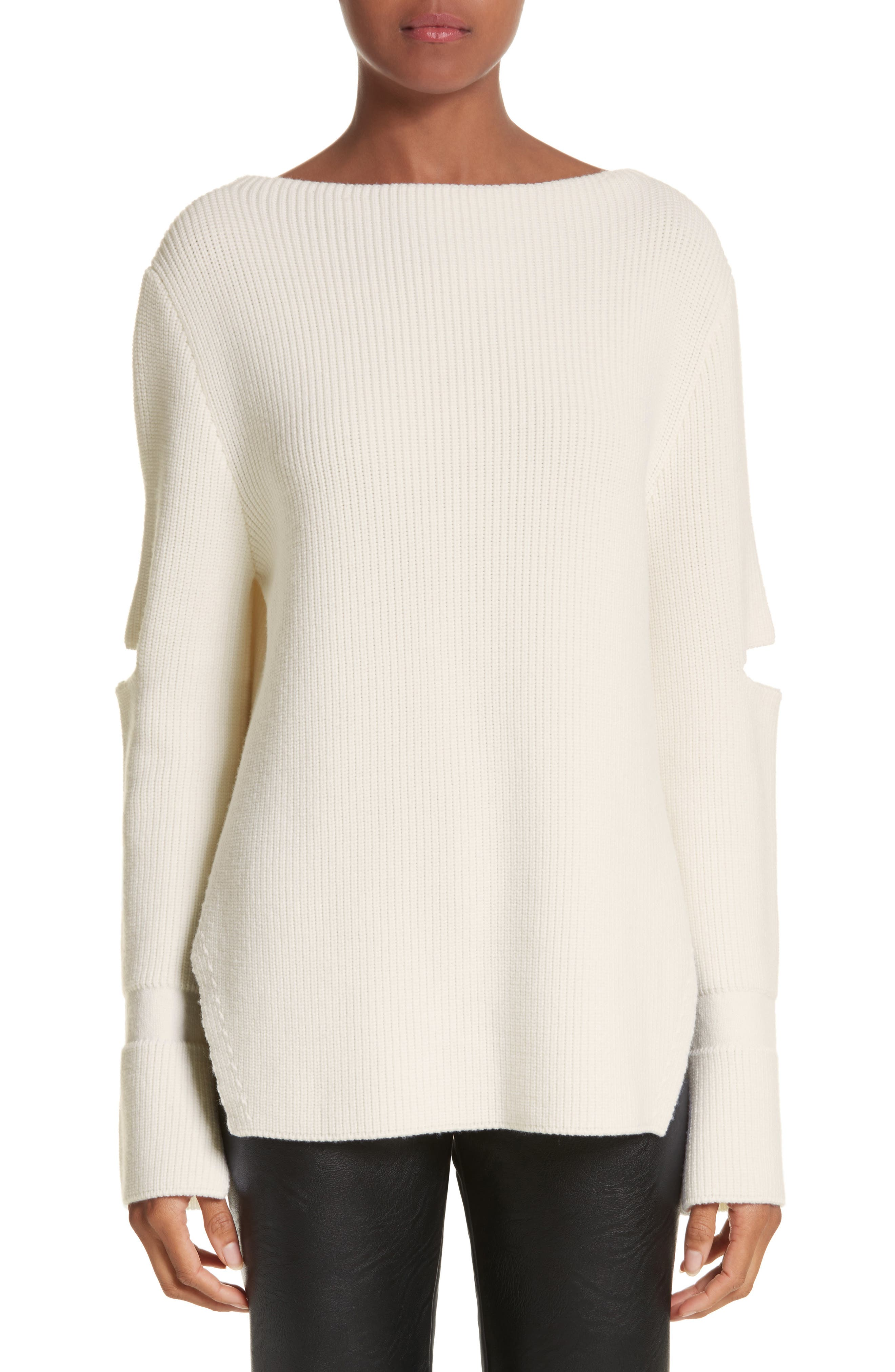 Slit Back Virgin Wool Blend Sweater,                             Main thumbnail 1, color,                             108