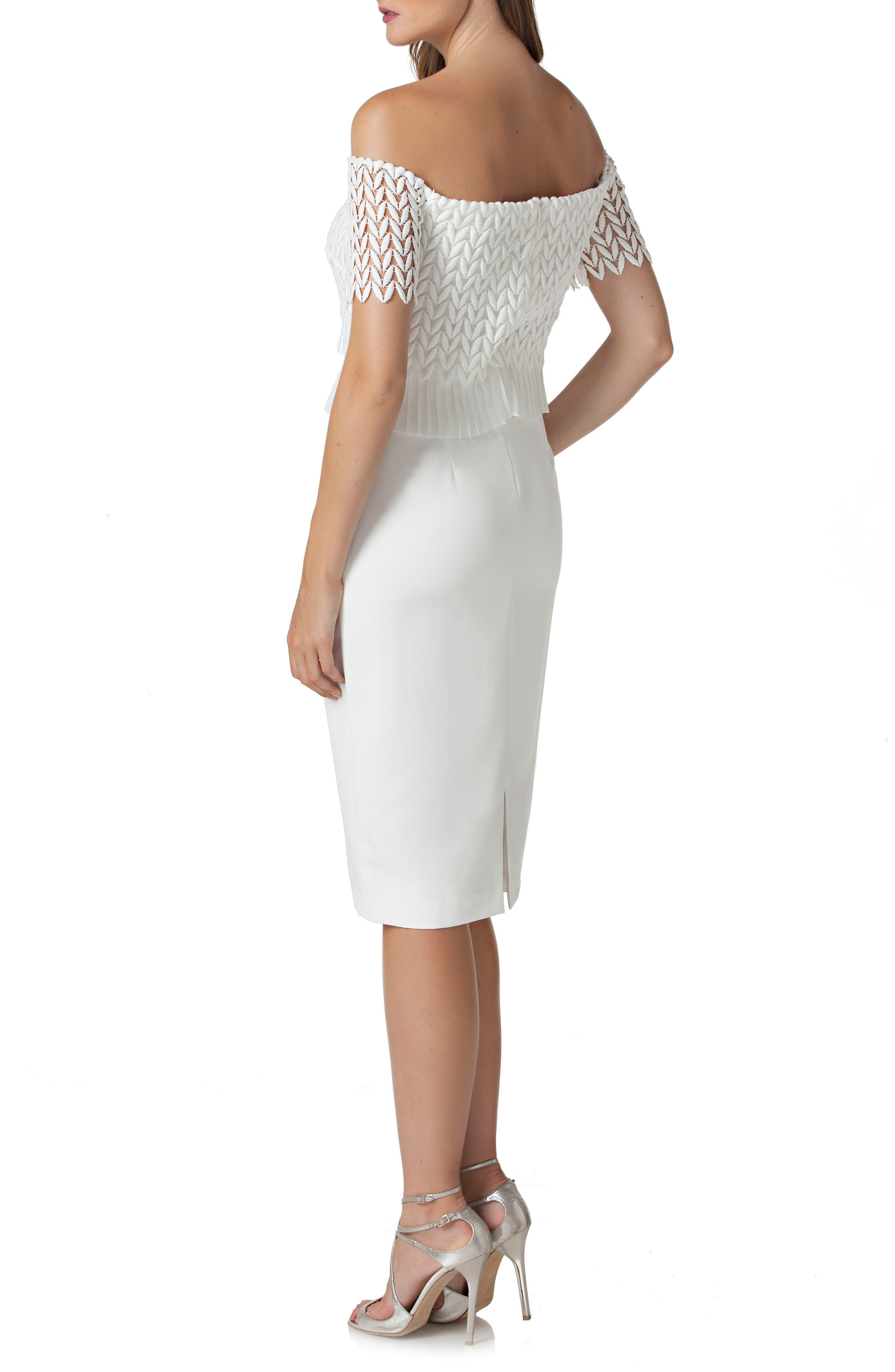 Off the Shoulder Lace Sheath Dress,                             Alternate thumbnail 2, color,                             IVORY