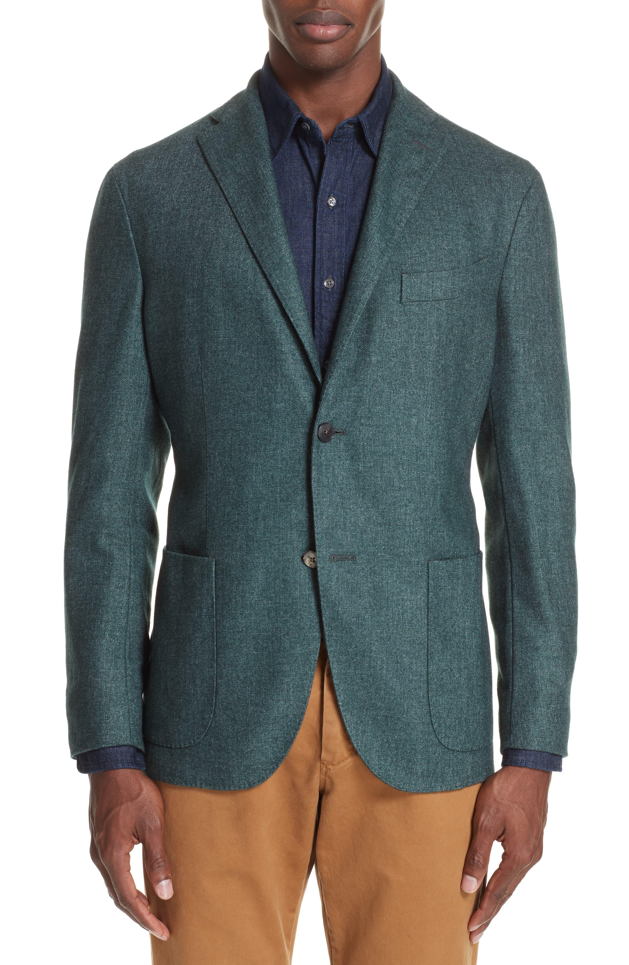 Trim Fit Cashmere Blend Blazer,                             Main thumbnail 1, color,                             GREEN