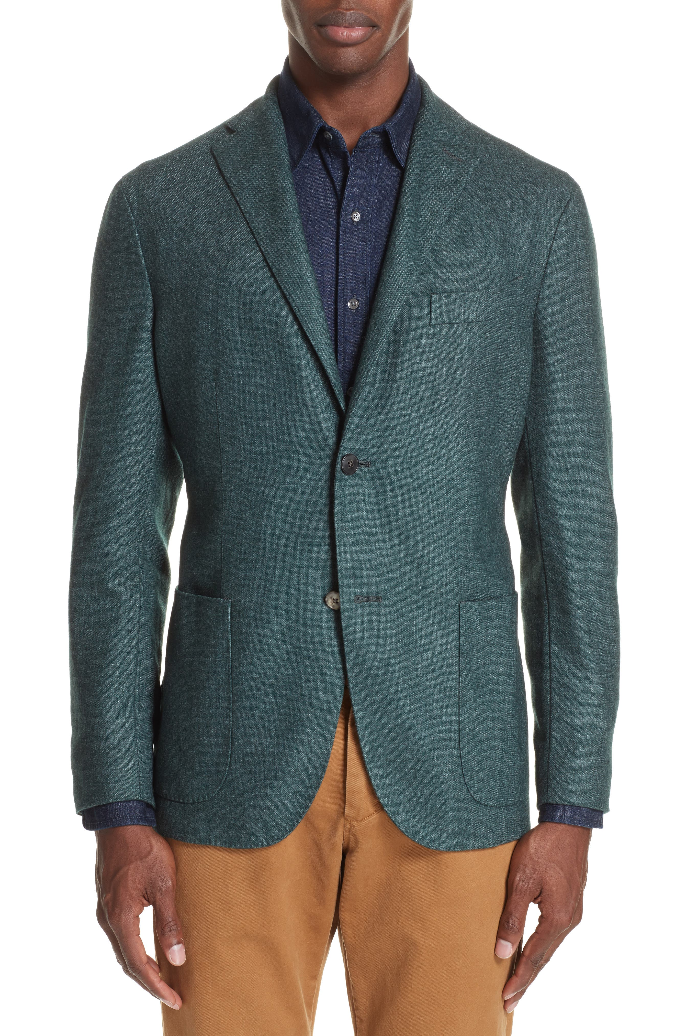 Trim Fit Cashmere Blend Blazer,                         Main,                         color, GREEN
