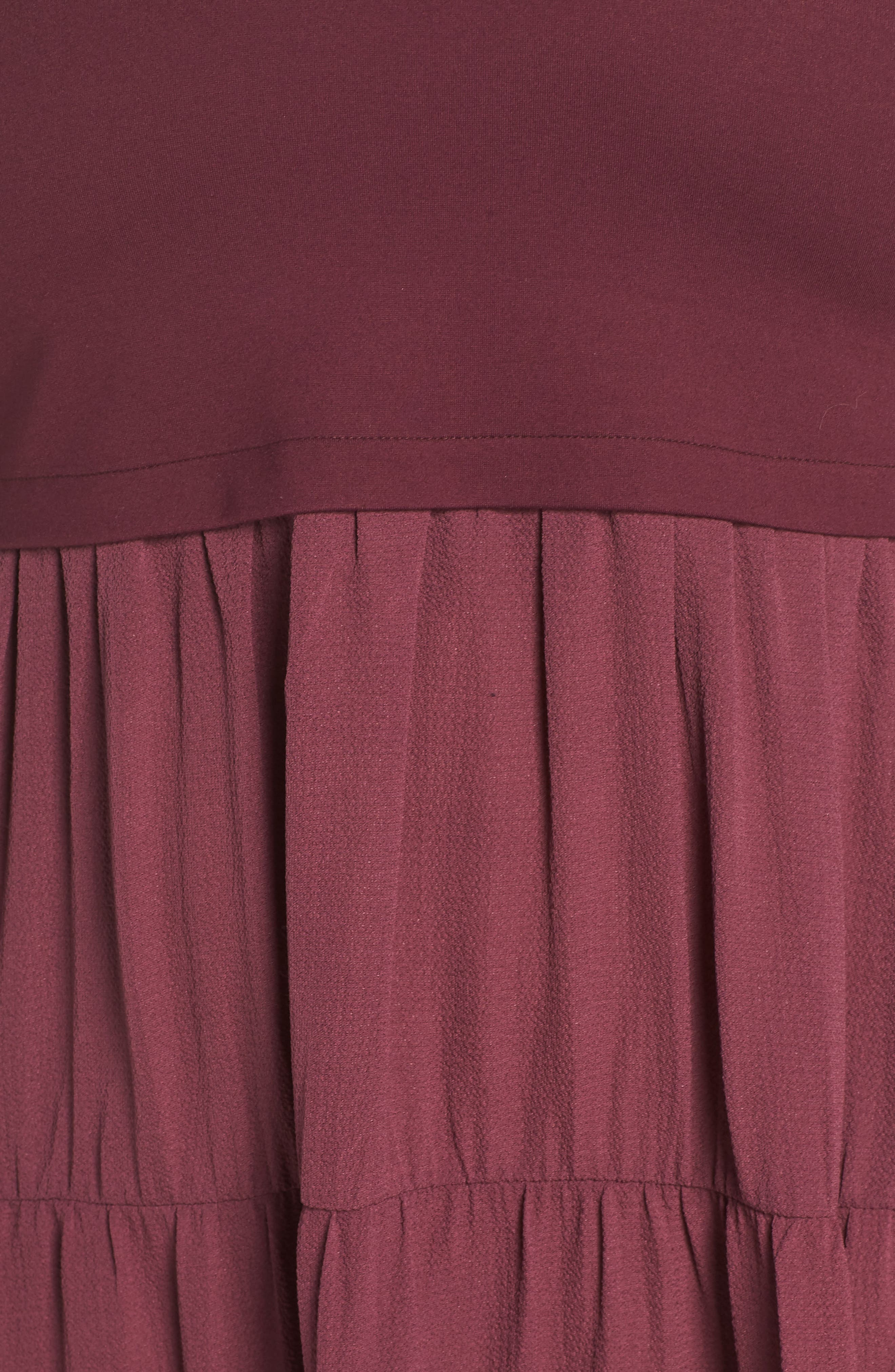 Mixed Media Ruffle Detail Swing Dress,                             Alternate thumbnail 6, color,                             BURGUNDY