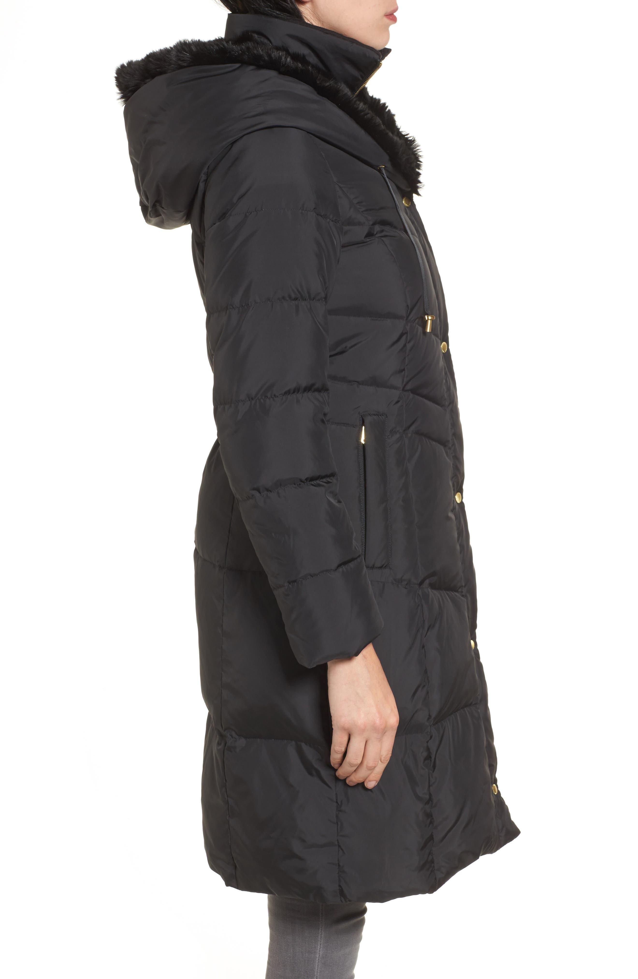 3/4 Down Coat with Faux Fur Hood,                             Alternate thumbnail 3, color,                             001