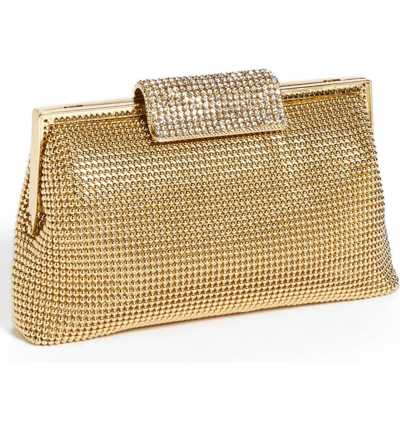 WHITING & DAVIS Crystal Frame Clutch, Main, color, GOLD