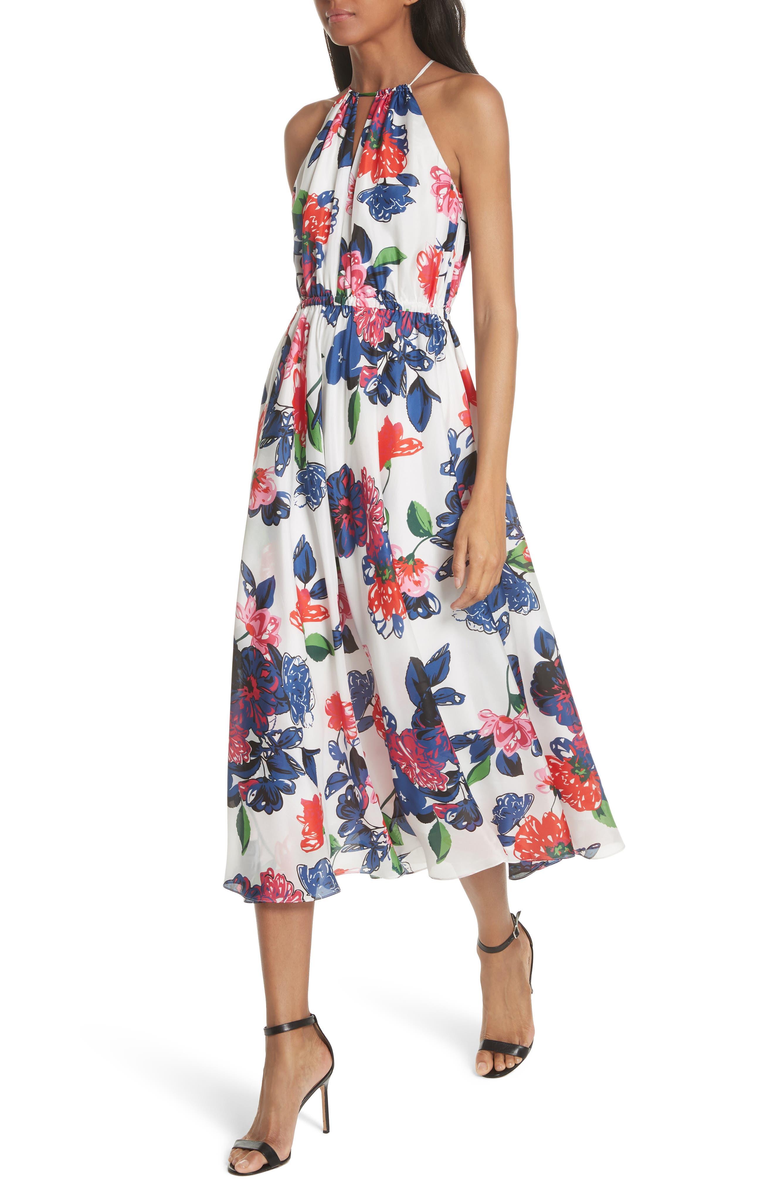 Floral Print Double Keyhole Silk Dress,                             Alternate thumbnail 4, color,                             MULTI