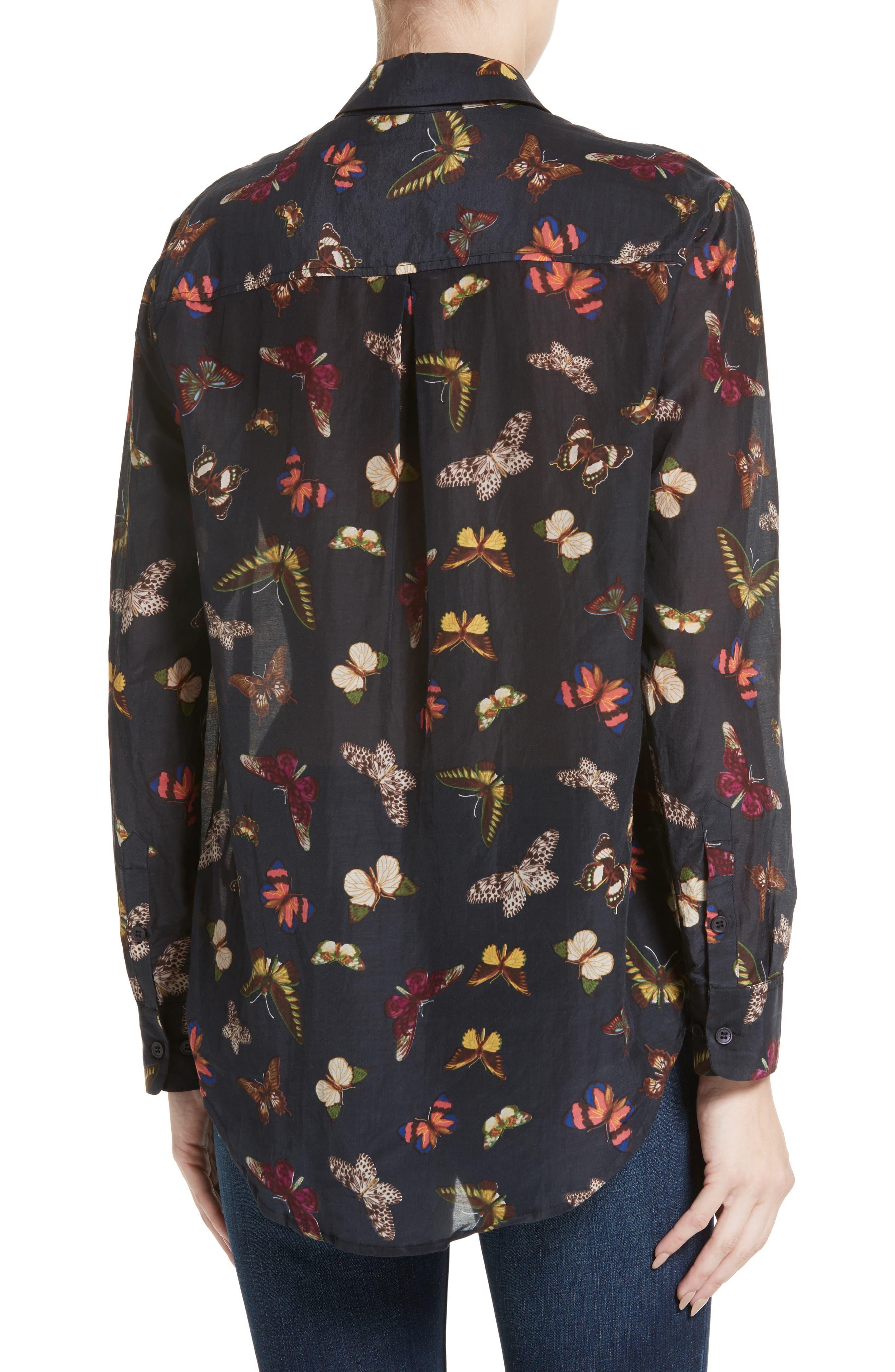 Essential Sheer Cotton & Silk Shirt,                             Alternate thumbnail 4, color,