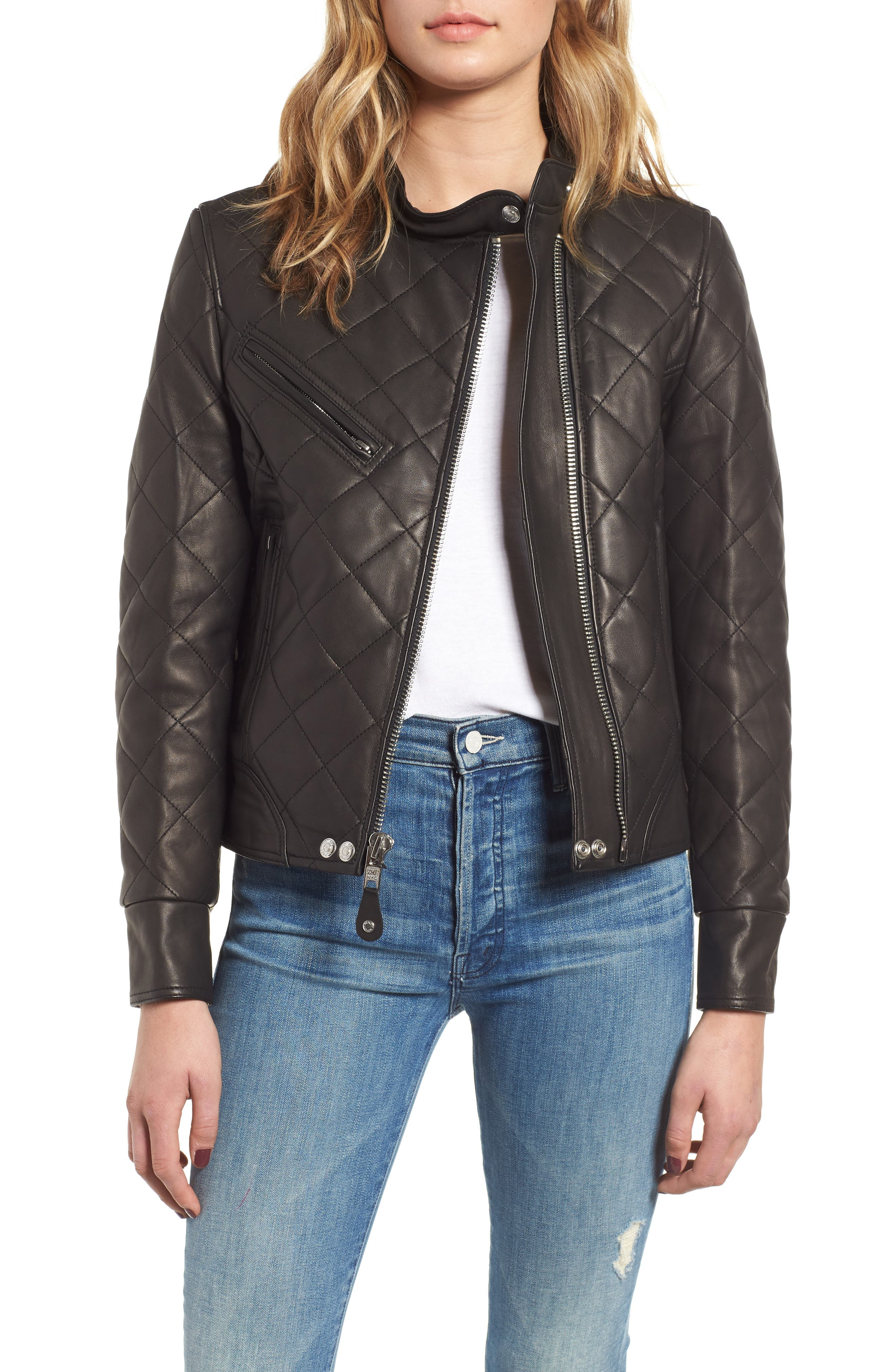 Quilted Lambskin Leather Moto Jacket in Black