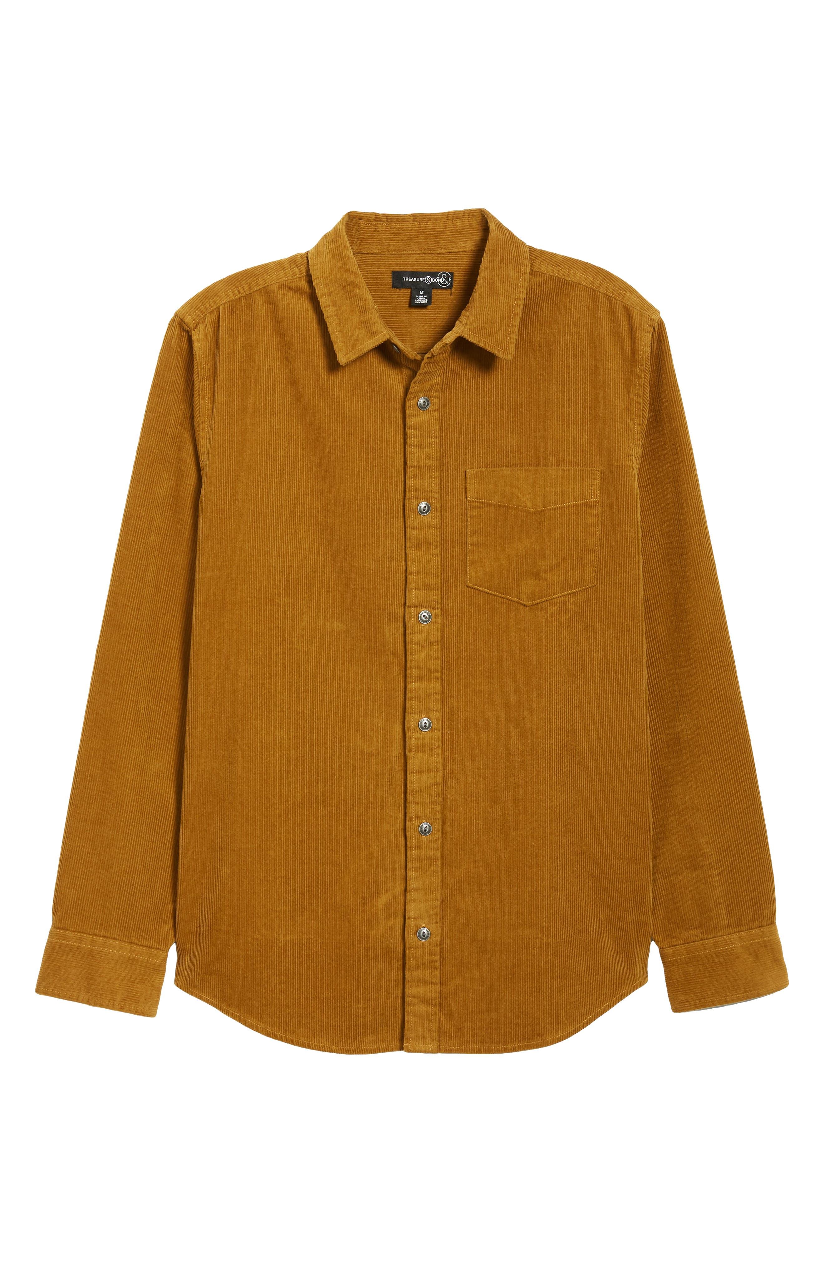 Regular Fit Corduroy Shirt Jacket,                             Alternate thumbnail 5, color,                             BROWN BRONZE