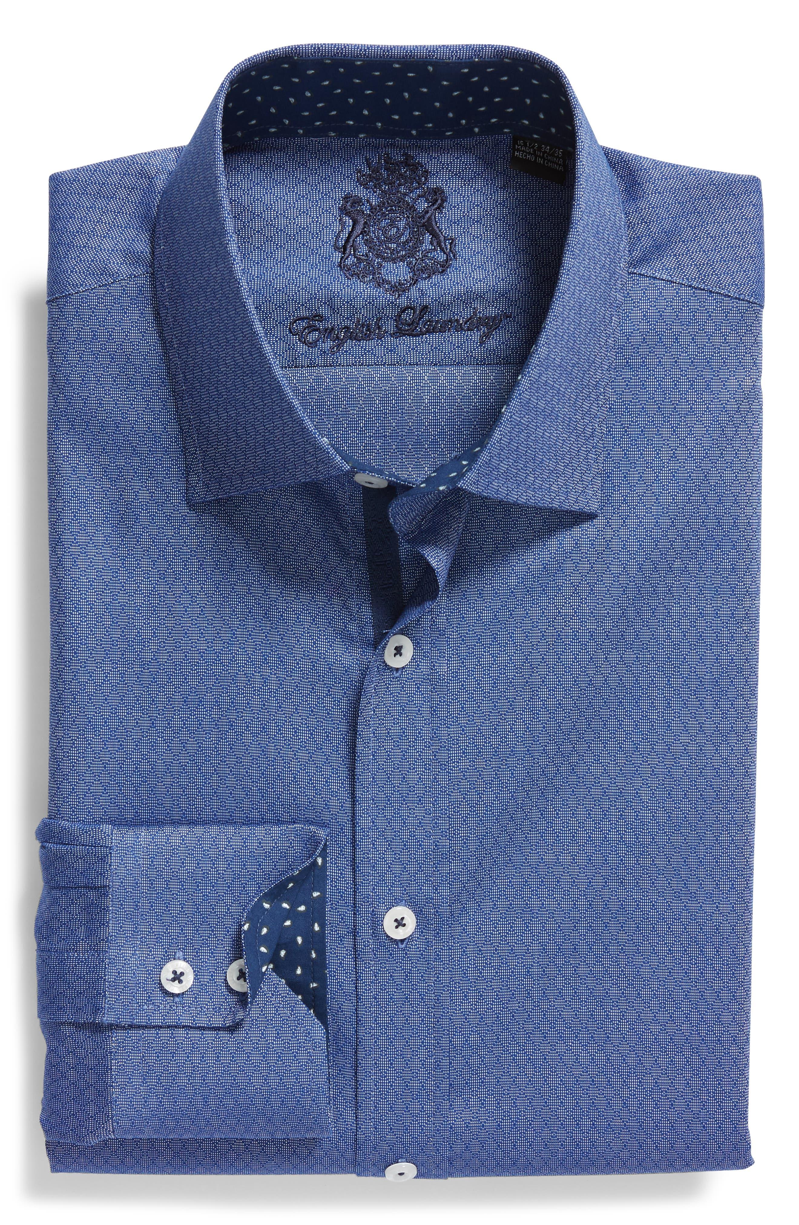 Pattern Regular Fit Dress Shirt,                             Alternate thumbnail 5, color,                             NAVY