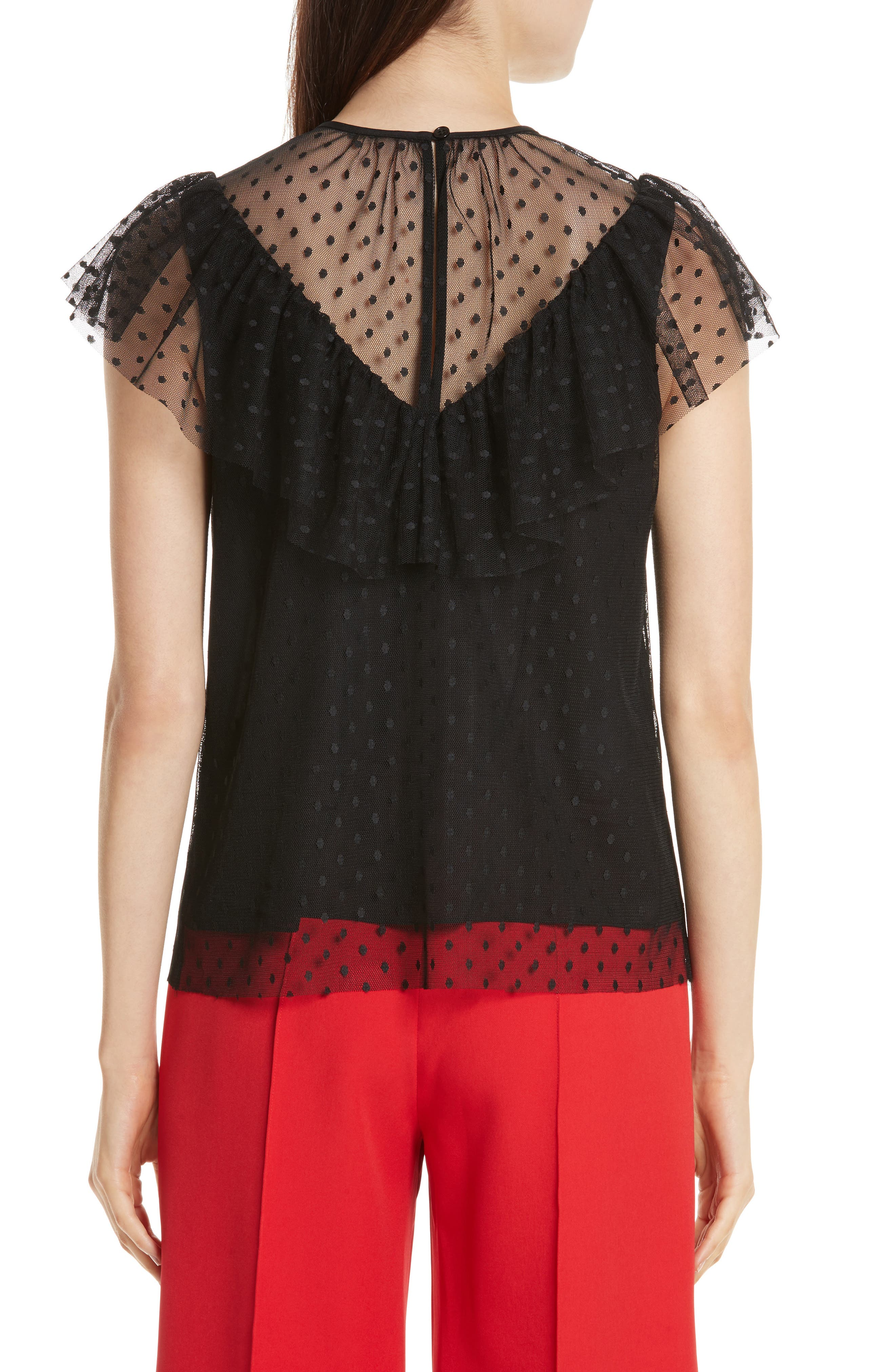 Helena Dot Tulle Top,                             Alternate thumbnail 2, color,