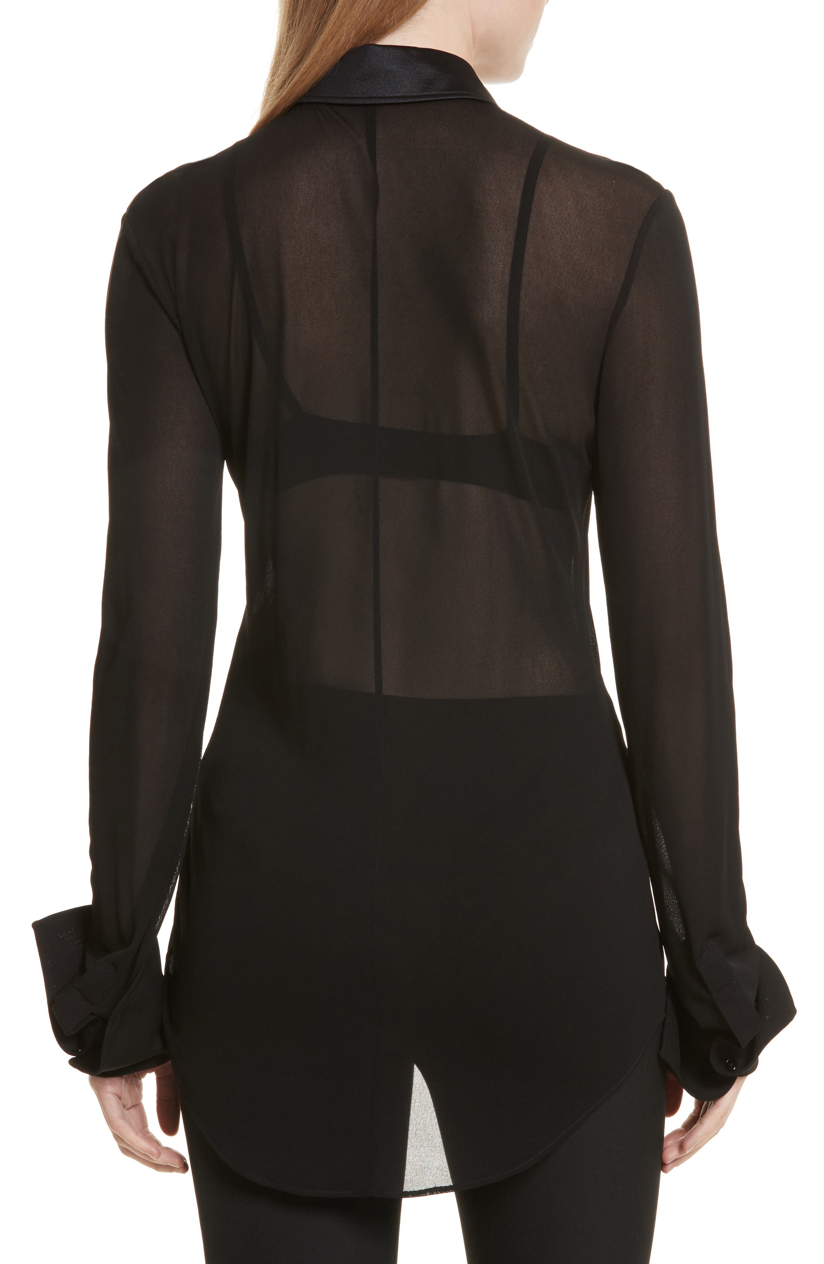 Slater Sheer Crepe Net Shirt,                             Alternate thumbnail 2, color,                             001