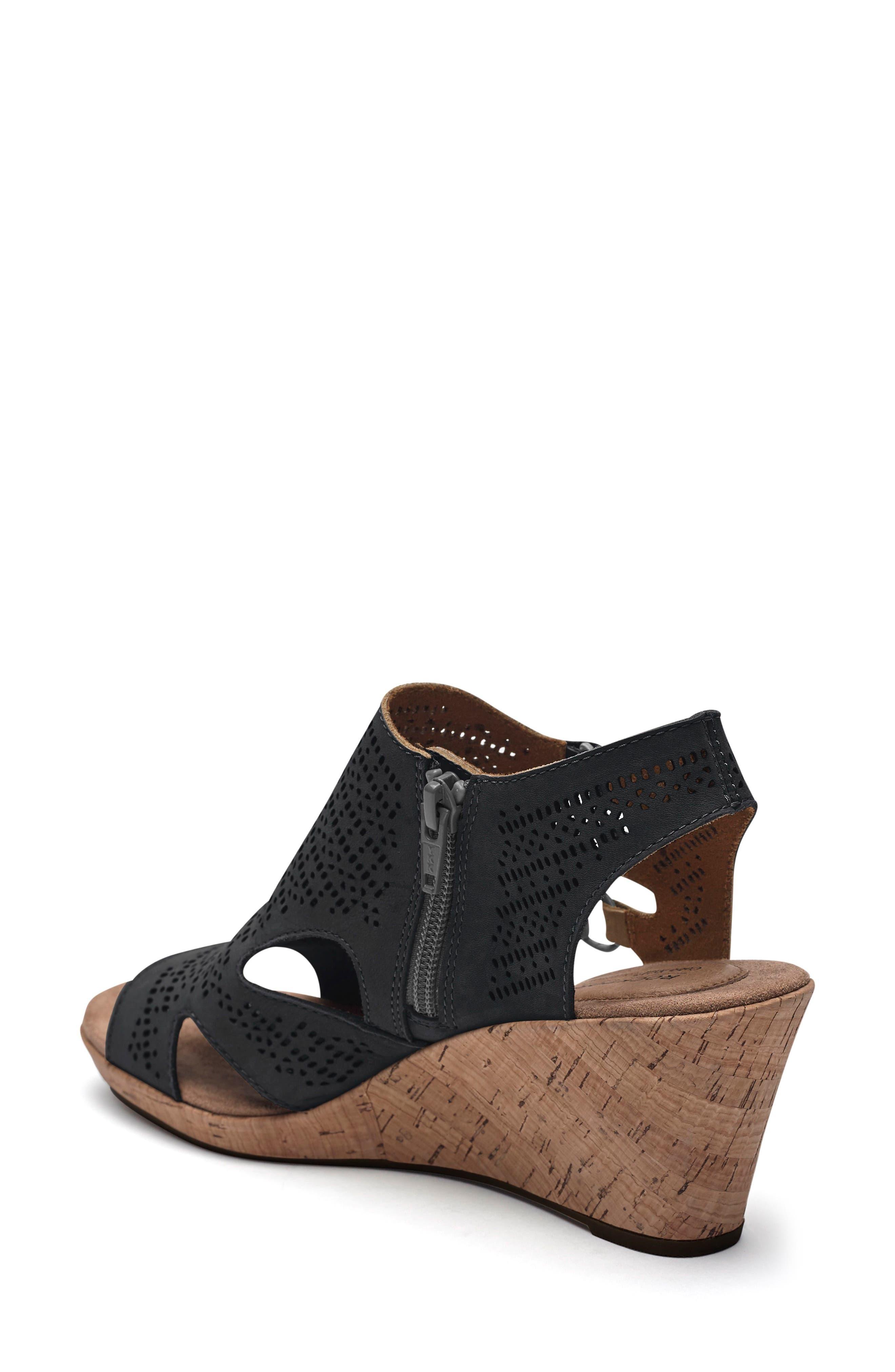 Janna Perforated Wedge Sandal,                             Alternate thumbnail 2, color,                             BLACK NUBUCK LEATHER