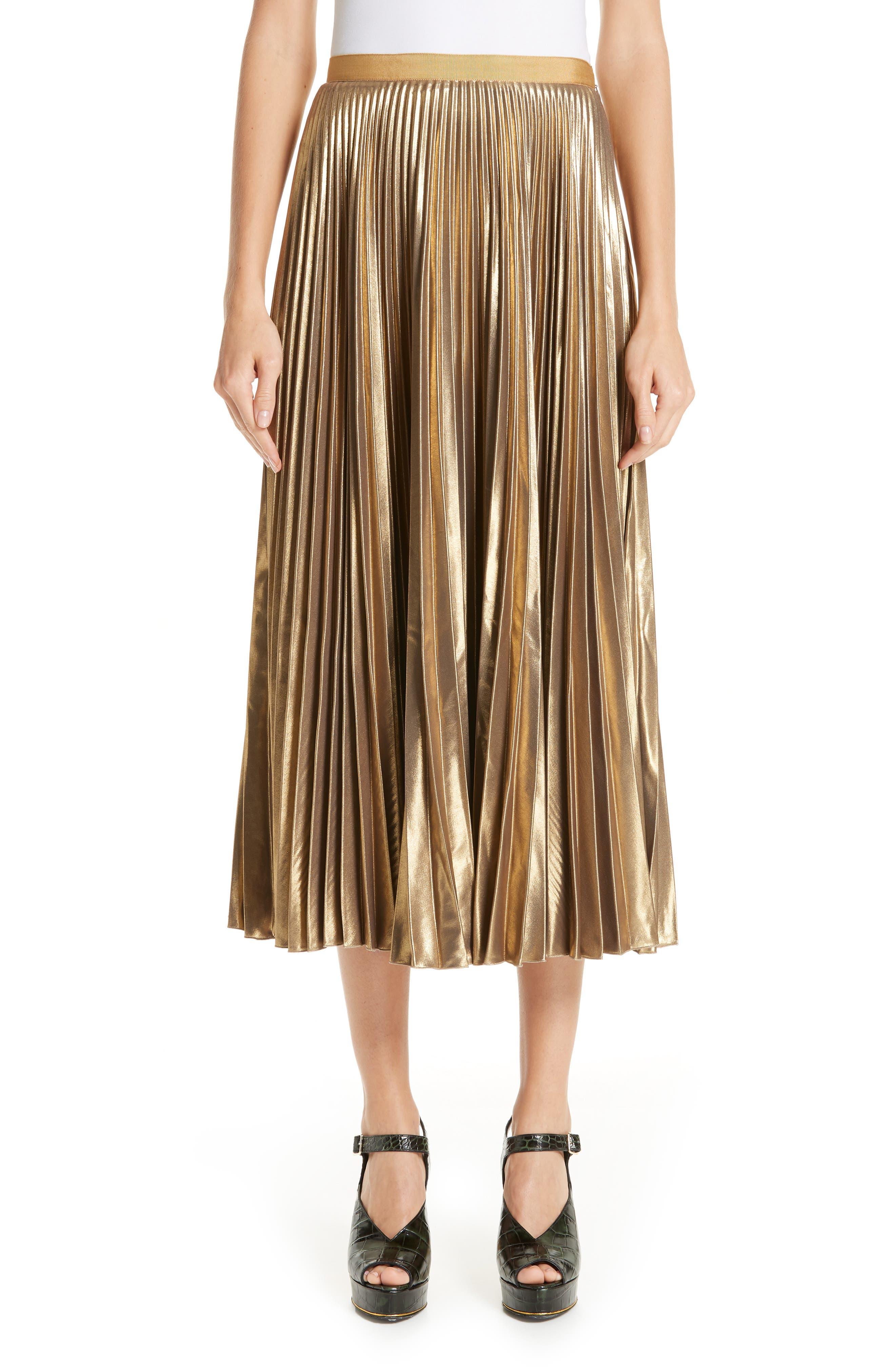 Pleated Metallic Skirt,                             Main thumbnail 1, color,                             710