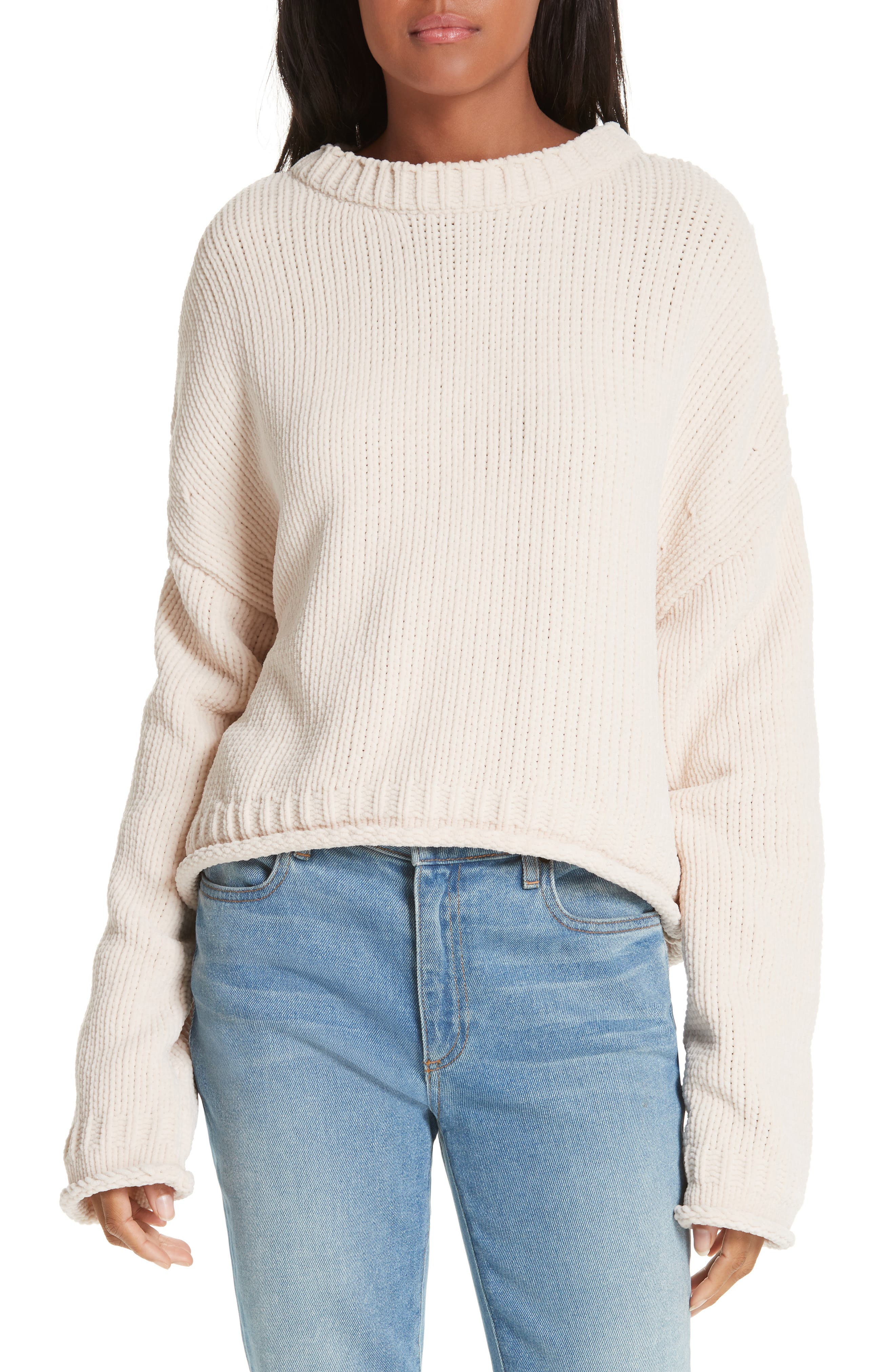 ALEXANDERWANG.T,                             Chenille Sweater,                             Main thumbnail 1, color,                             SHELL