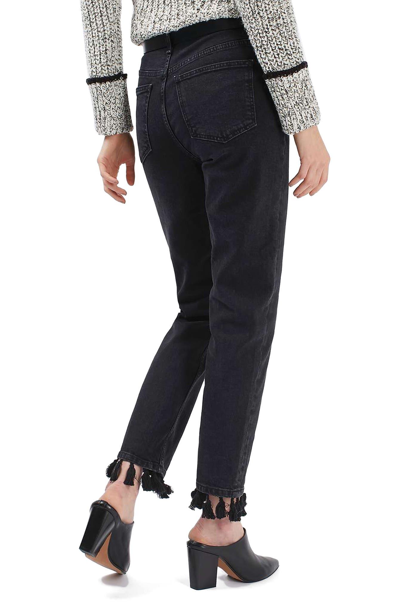 Tassel Hem Straight Leg Jeans,                             Alternate thumbnail 2, color,                             001
