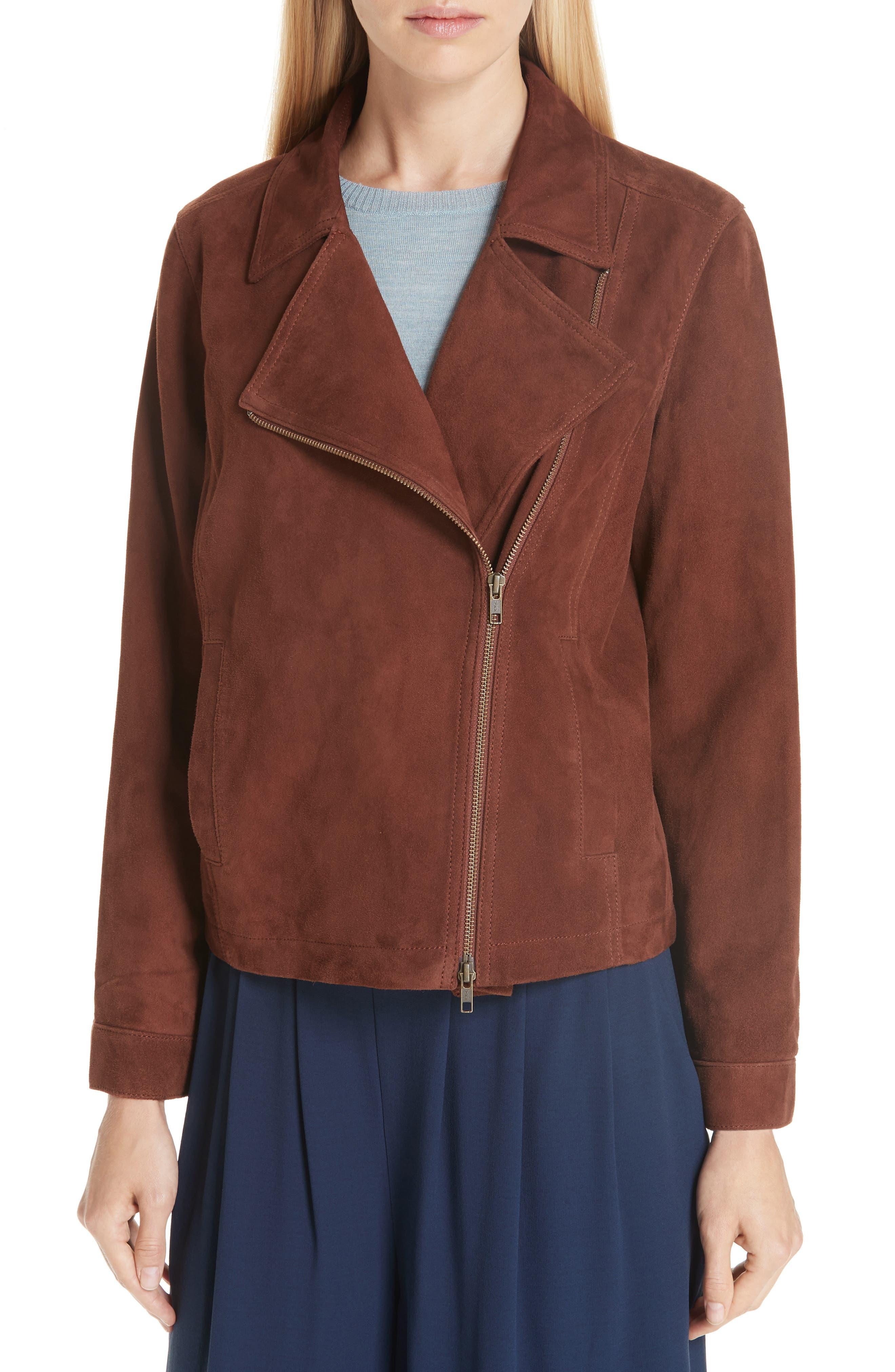 Asymmetrical Zip Suede Jacket,                             Alternate thumbnail 4, color,                             NUTMEG