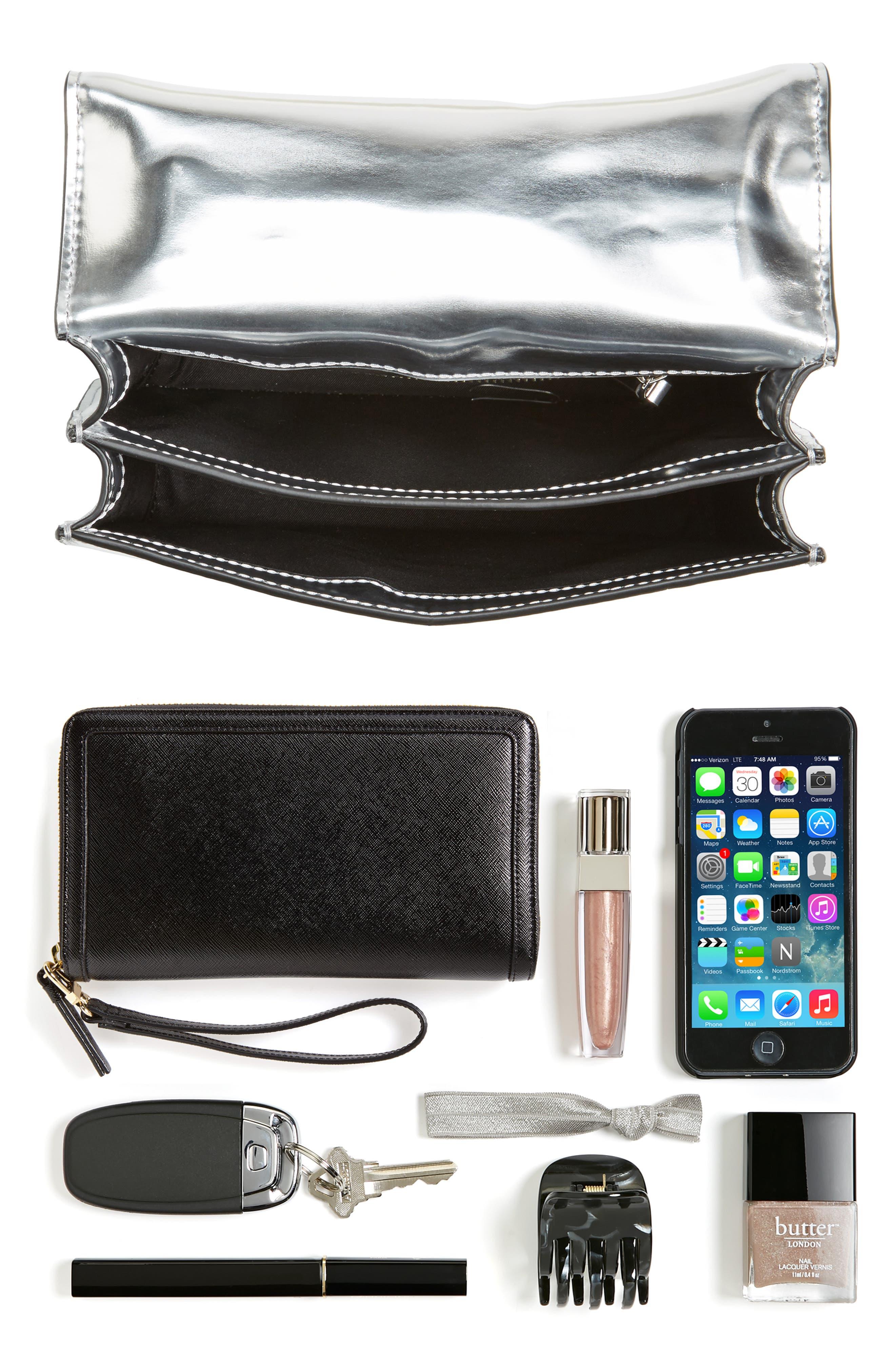 Mini Juliette Metallic Leather Top Handle Satchel,                             Alternate thumbnail 7, color,                             040