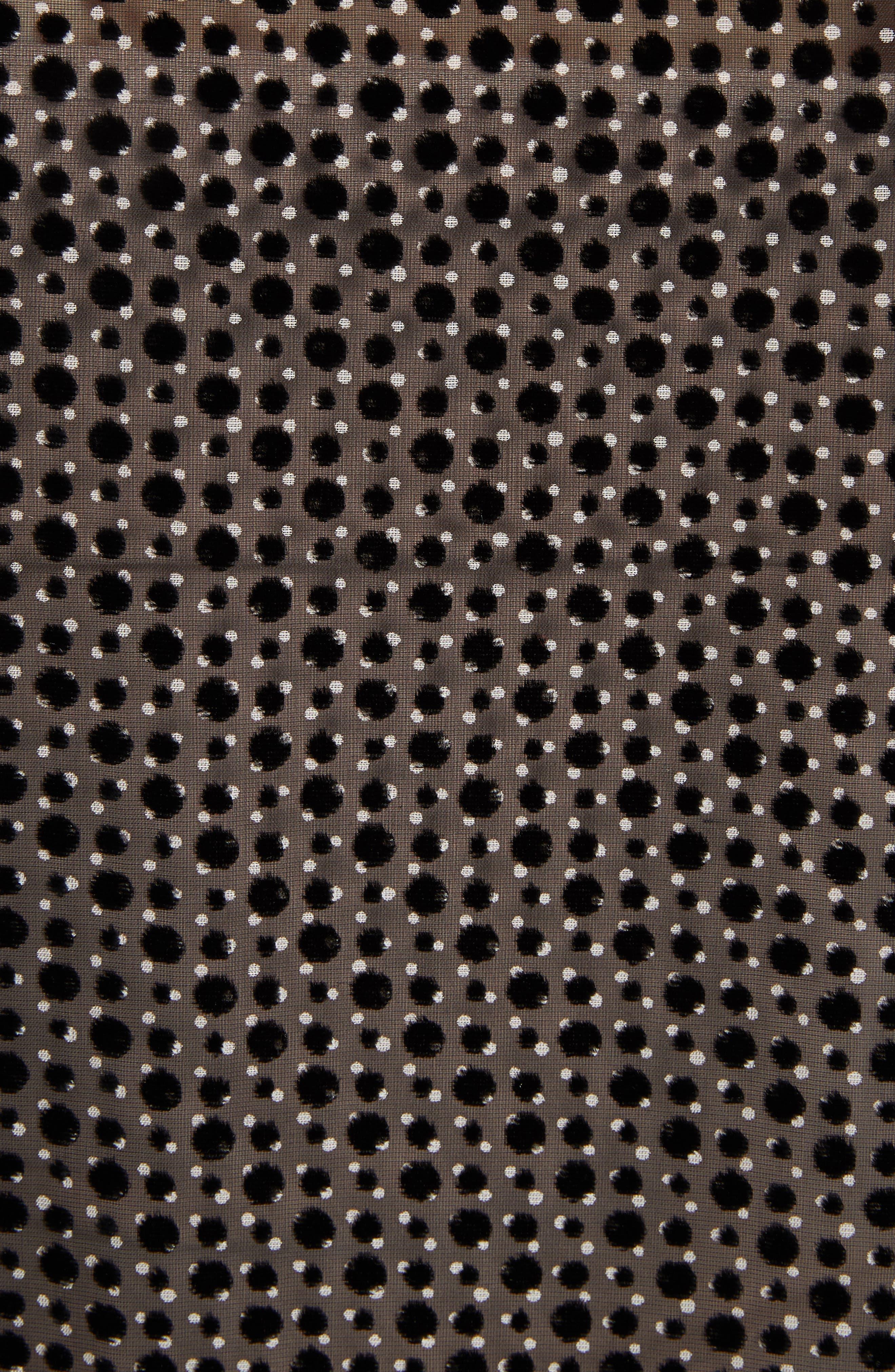 Emile Polka Dot Fil Coupé Top,                             Alternate thumbnail 5, color,                             BLACK DOTTY