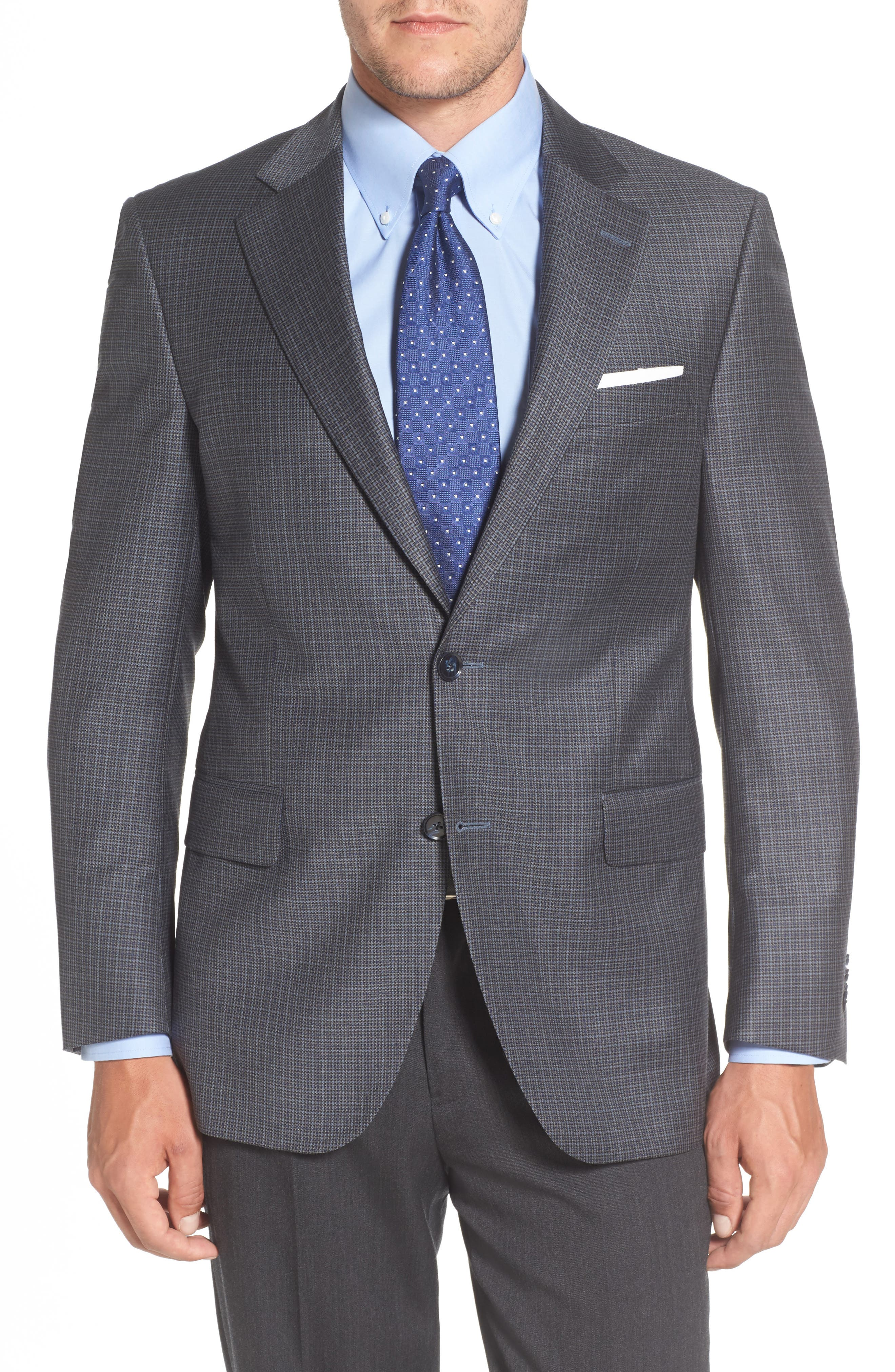 Flynn Classic Fit Check Wool Sport Coat,                             Main thumbnail 1, color,                             400