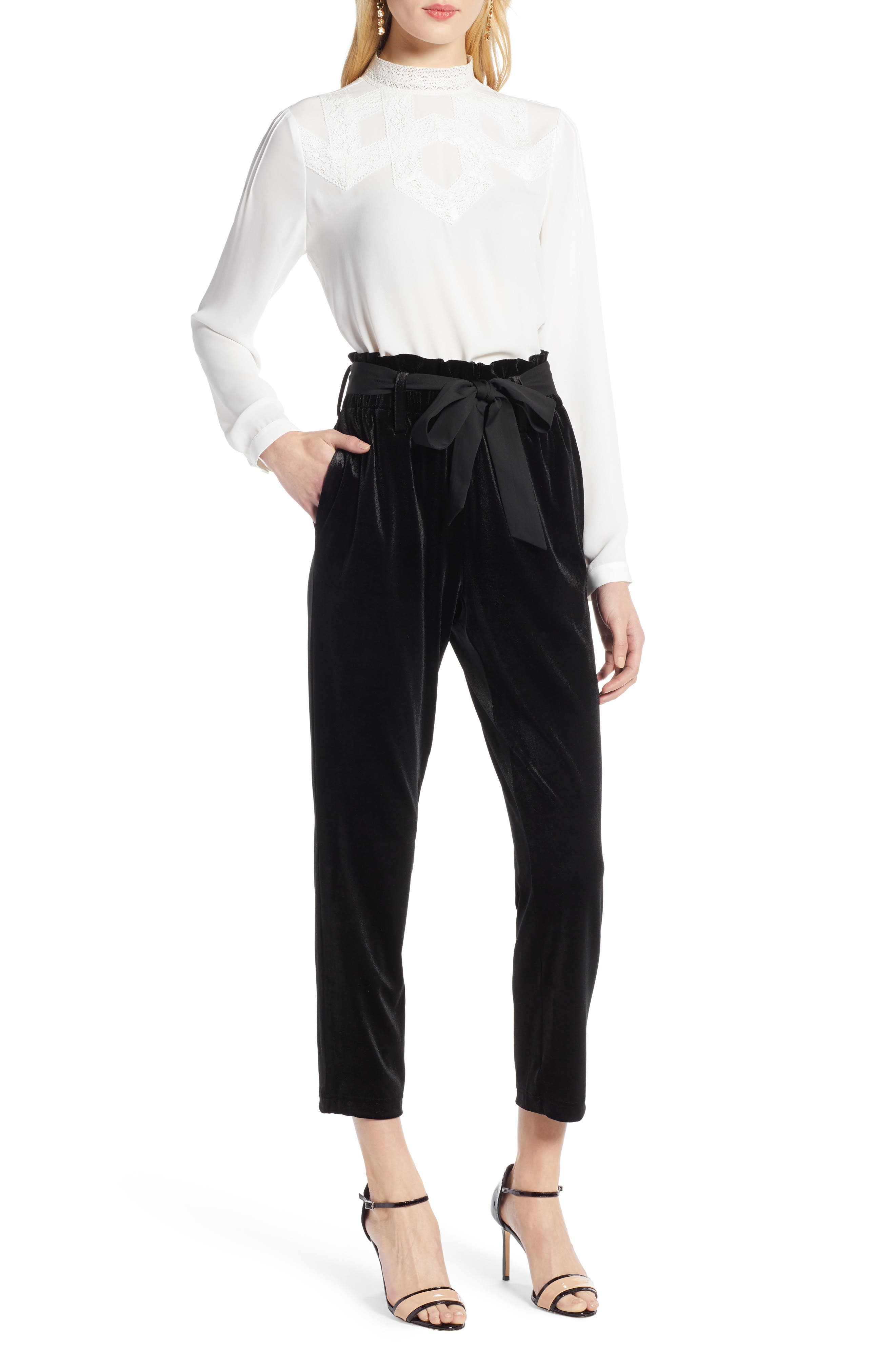 Tie Waist Velvet Pants,                             Alternate thumbnail 8, color,                             001