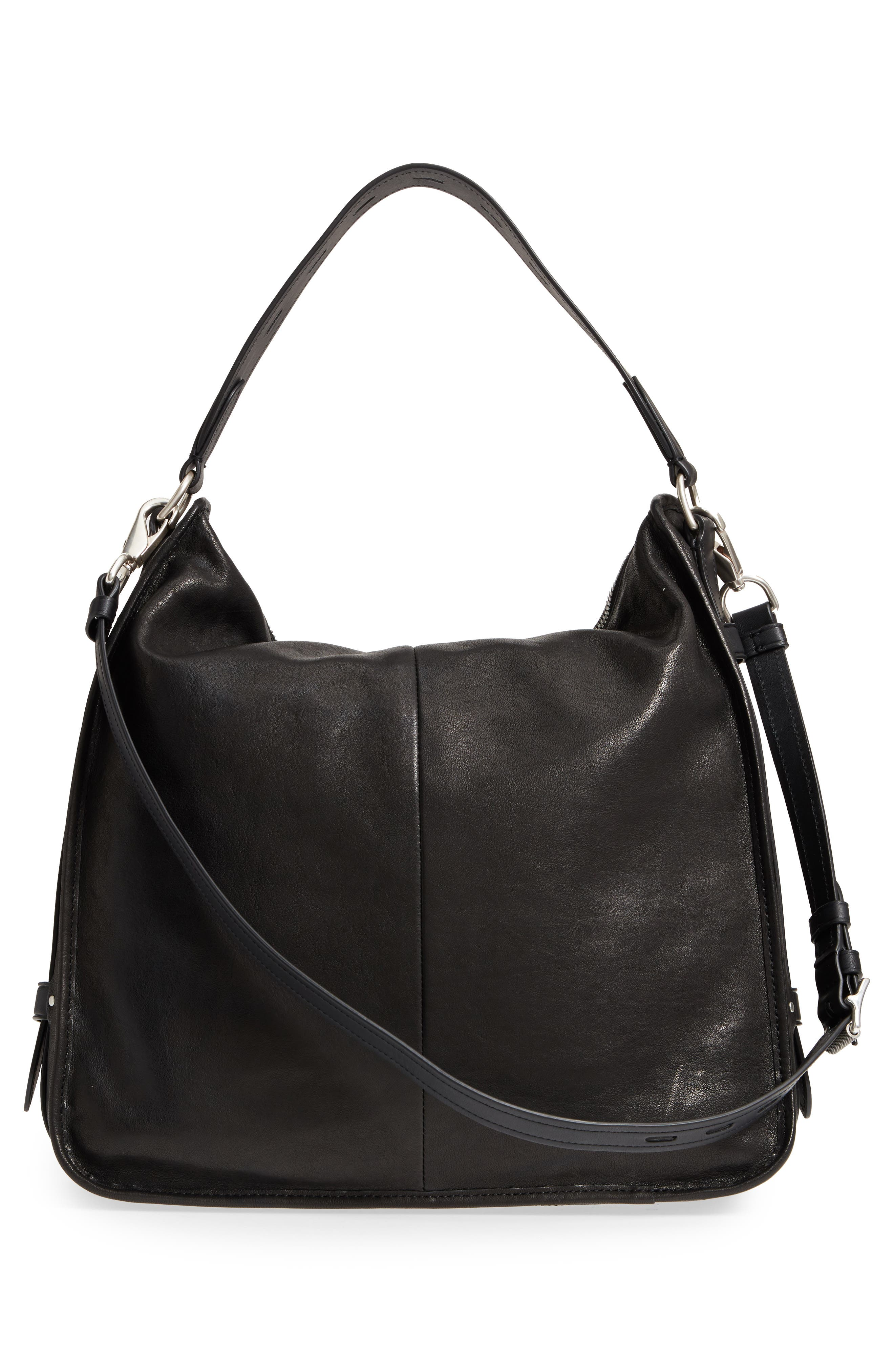Field Leather Hobo,                             Alternate thumbnail 3, color,                             BLACK