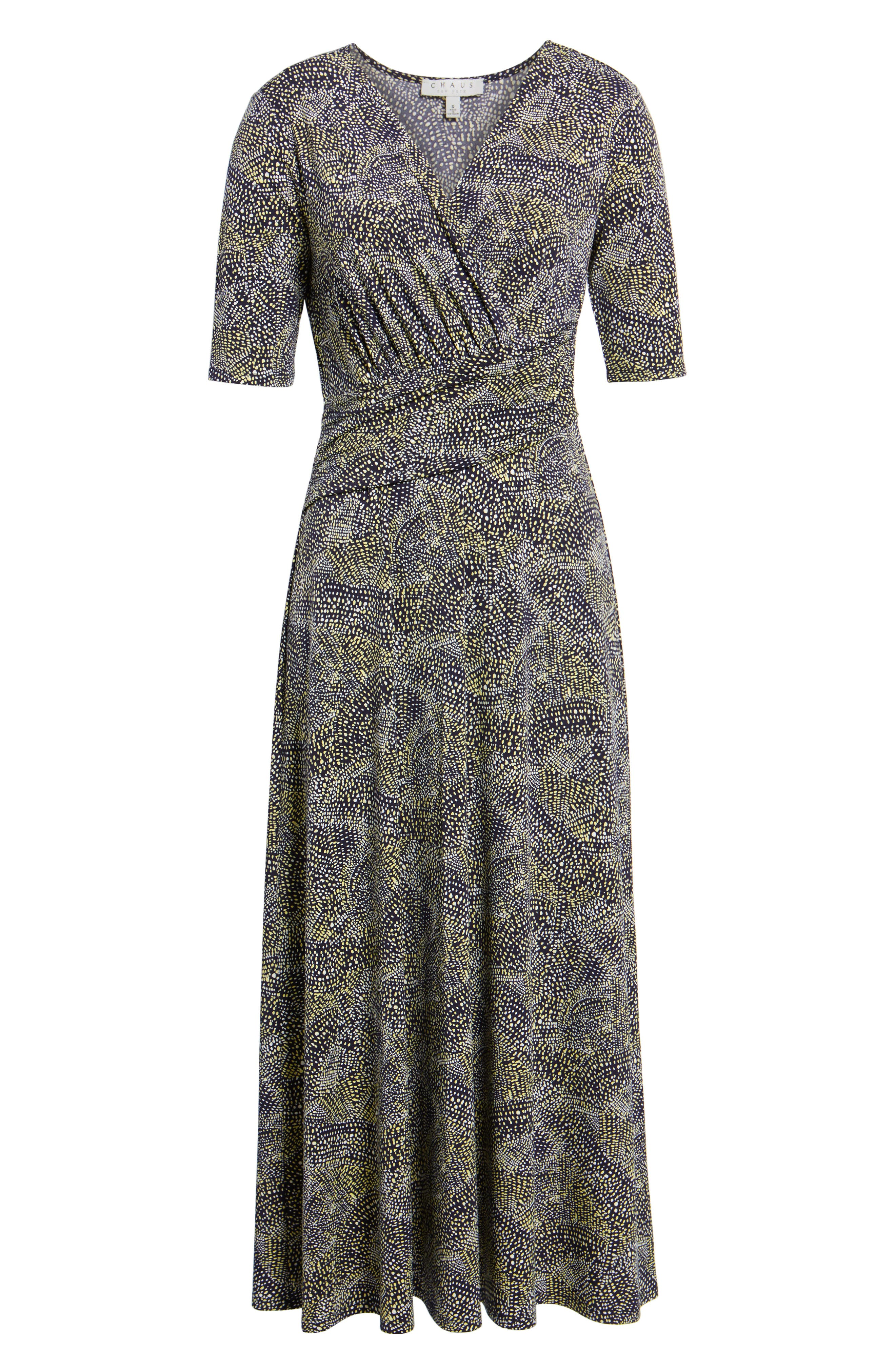 Ruched Speckle Midi Dress,                             Alternate thumbnail 6, color,                             784