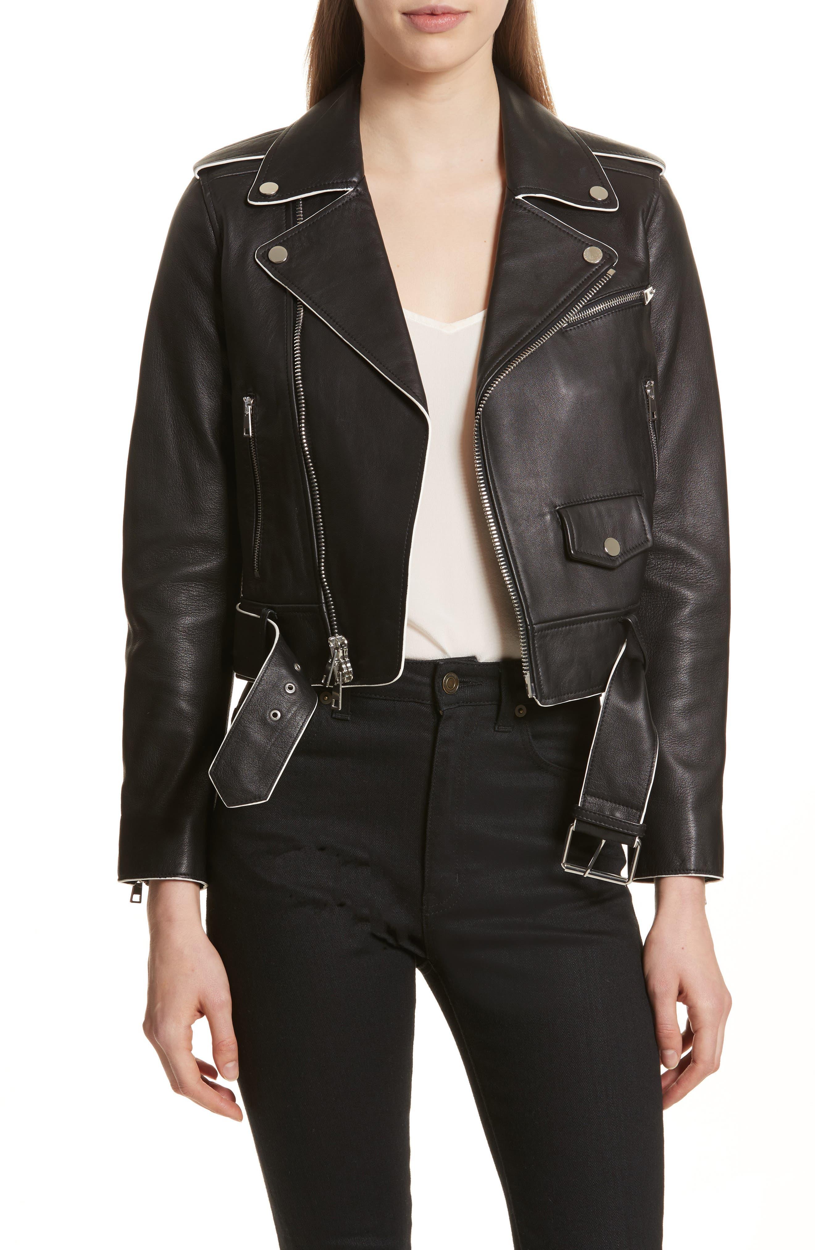 Painted Edge Shrunken Leather Moto Jacket,                         Main,                         color, 001