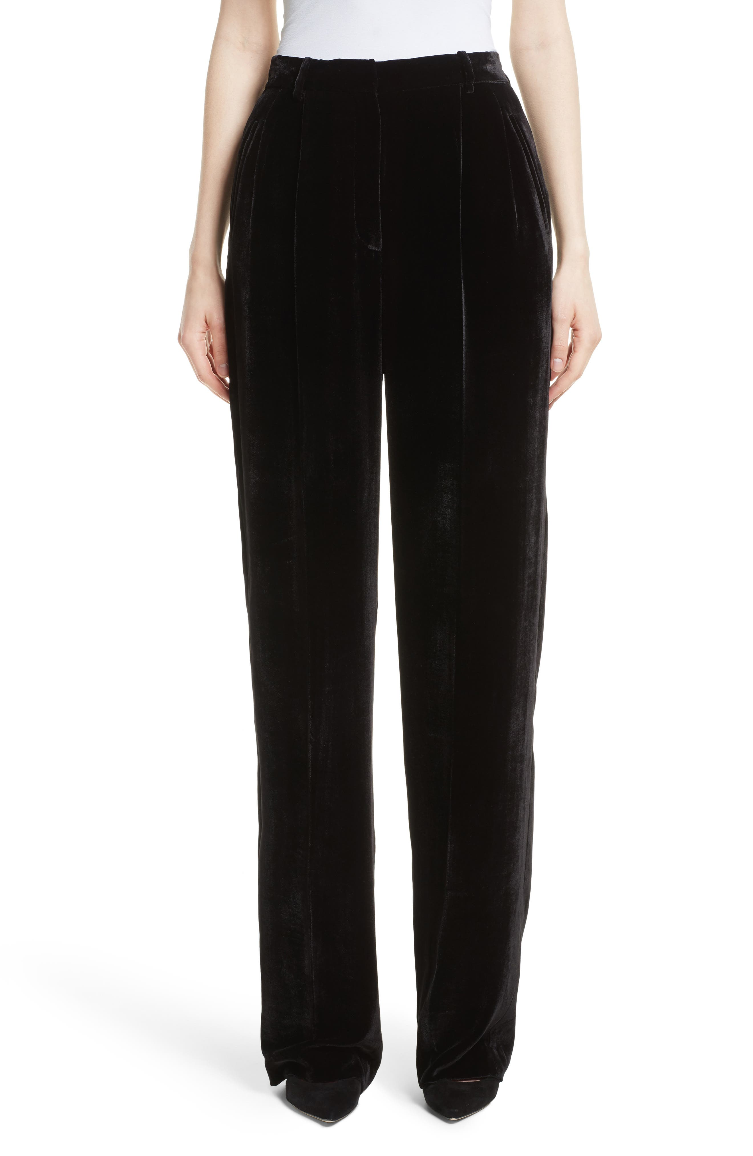 High Waist Luxe Velvet Pants,                         Main,                         color, 001