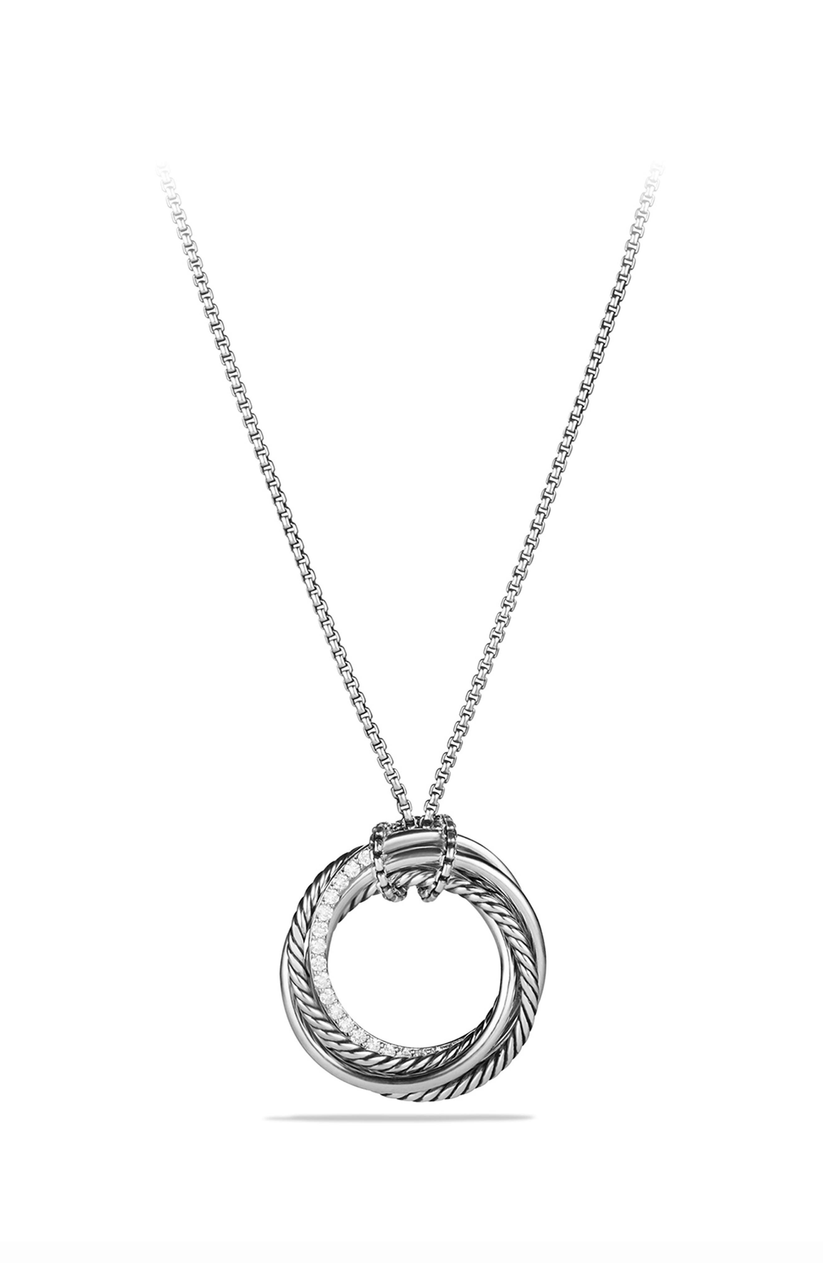 'Crossover' Pendant Necklace with Diamonds,                         Main,                         color, DIAMOND