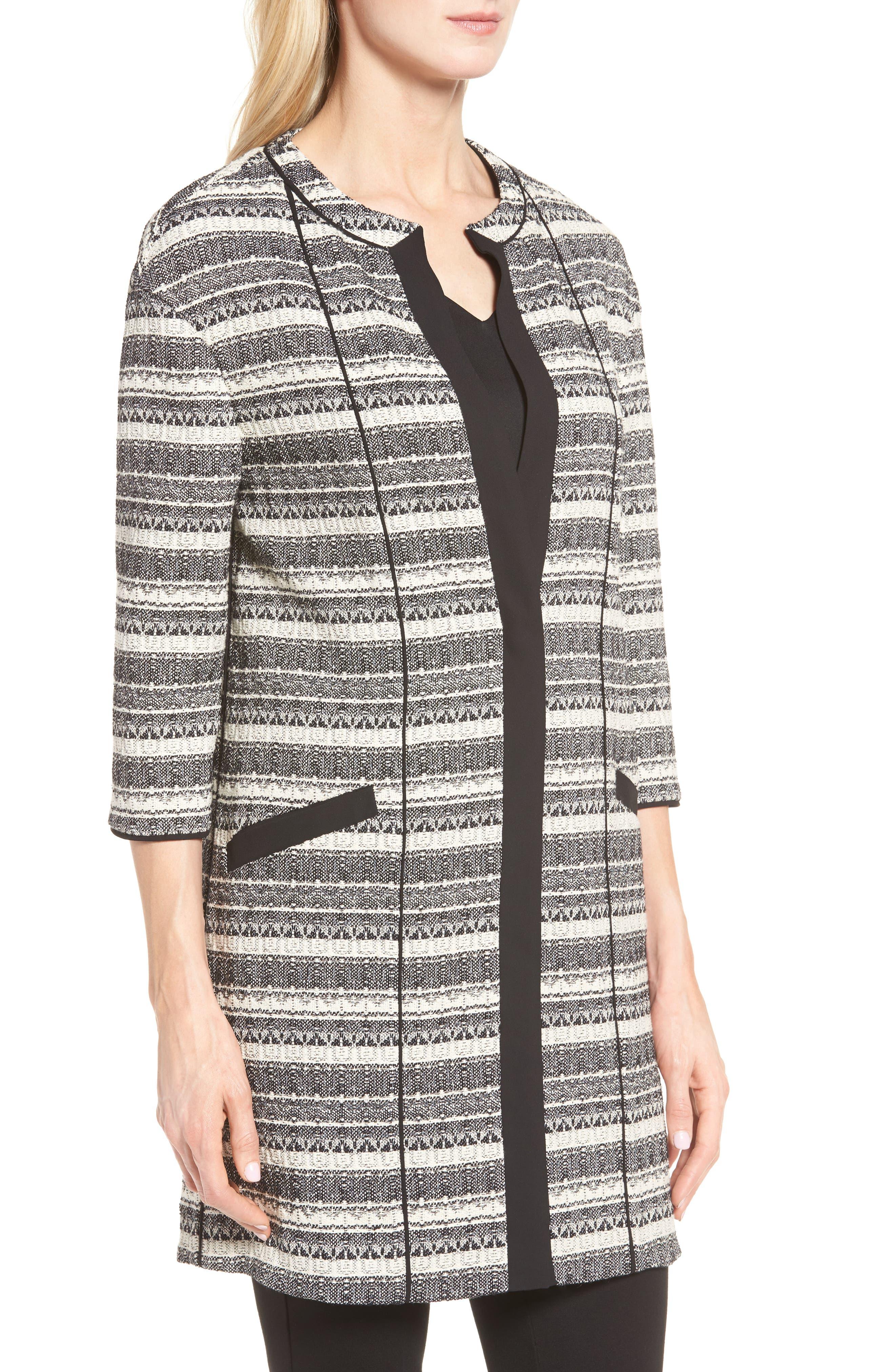 Long Stripe Tweed Jacket,                             Alternate thumbnail 4, color,                             001