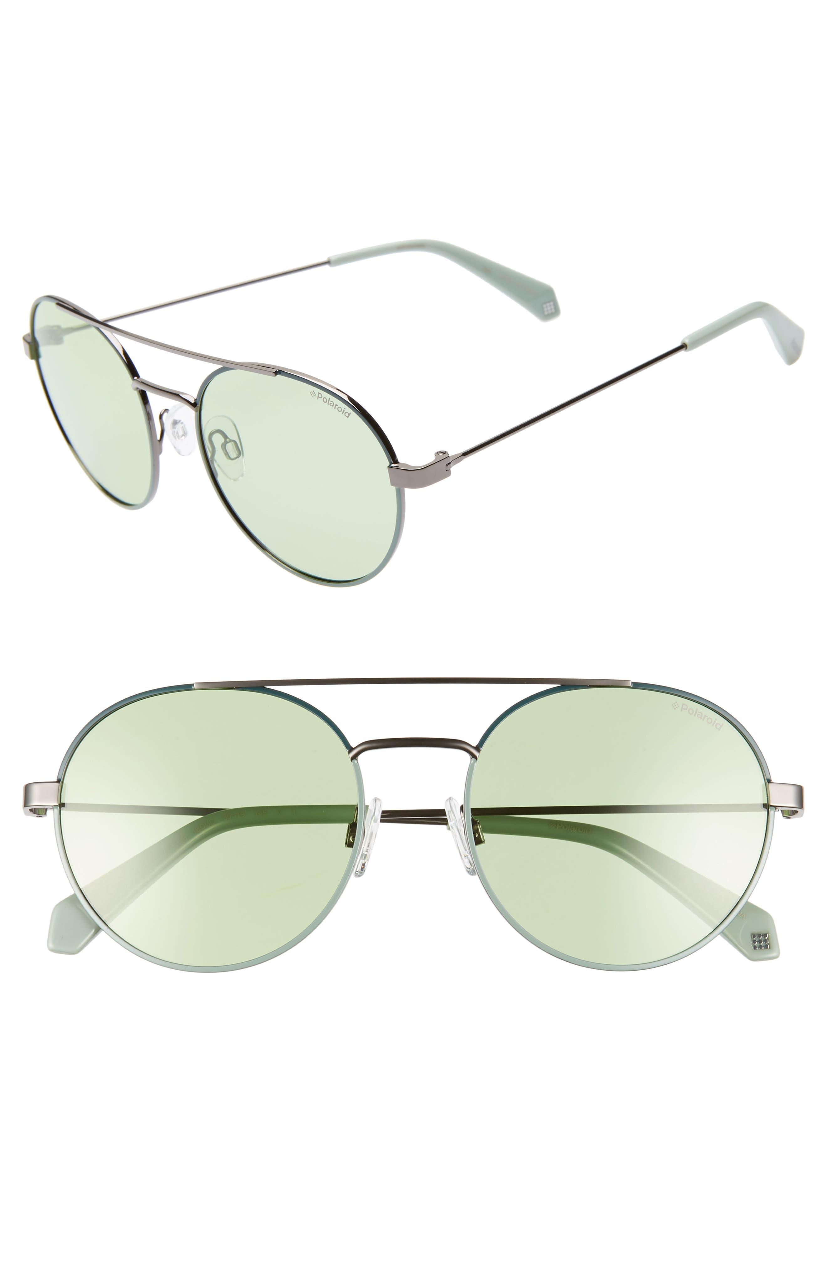 Polaroid Round 55Mm Polarized Sunglasses - Green