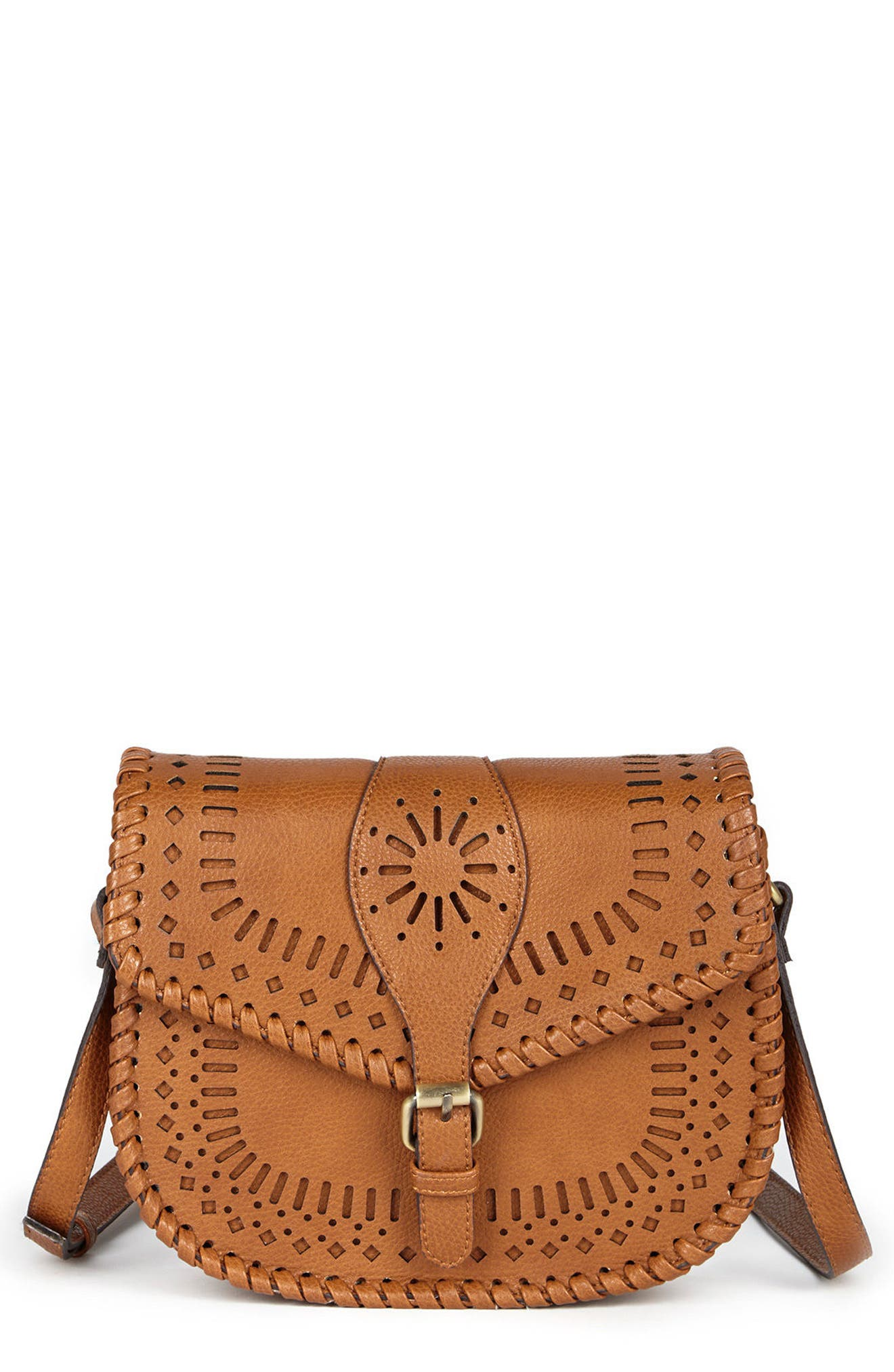 'Kianna' Perforated Faux Leather Crossbody Bag,                             Alternate thumbnail 5, color,