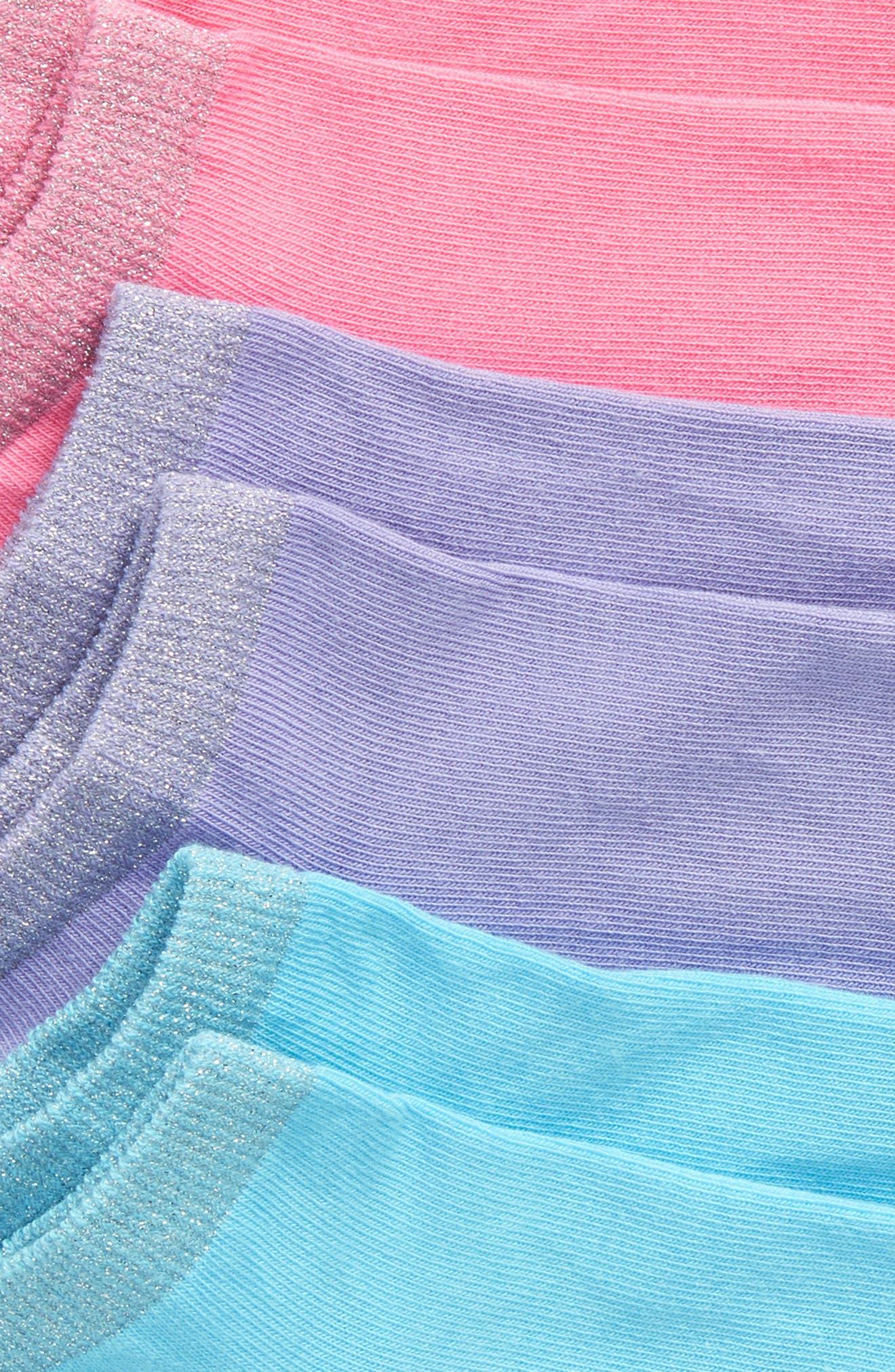 3-Pack Metallic Liner Socks,                             Alternate thumbnail 2, color,                             PINK GERANIUM MULTI