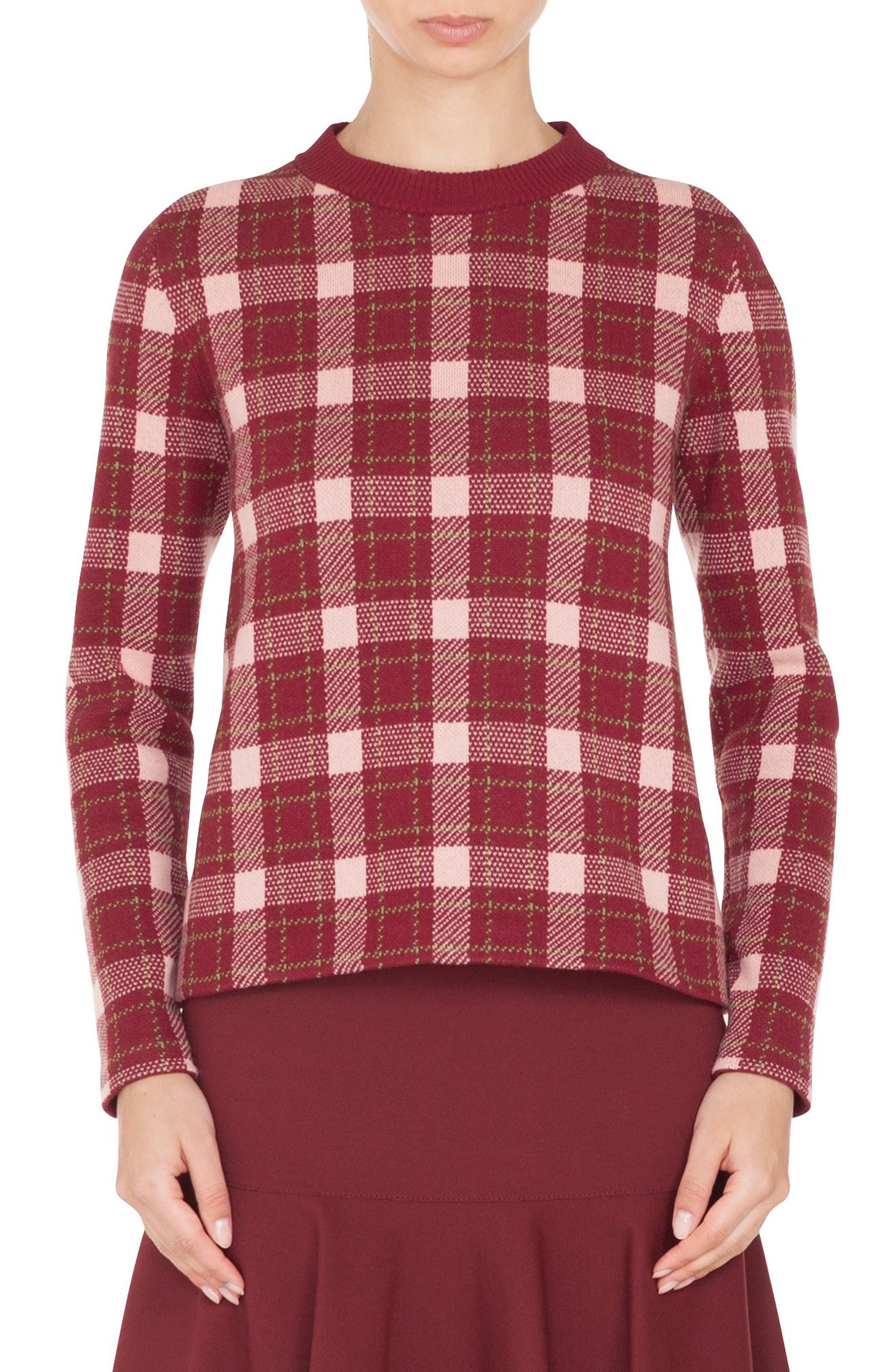 Brit Check Wool & Cashmere Pullover,                         Main,                         color, BLUSH ROSE/ BURGUNDY