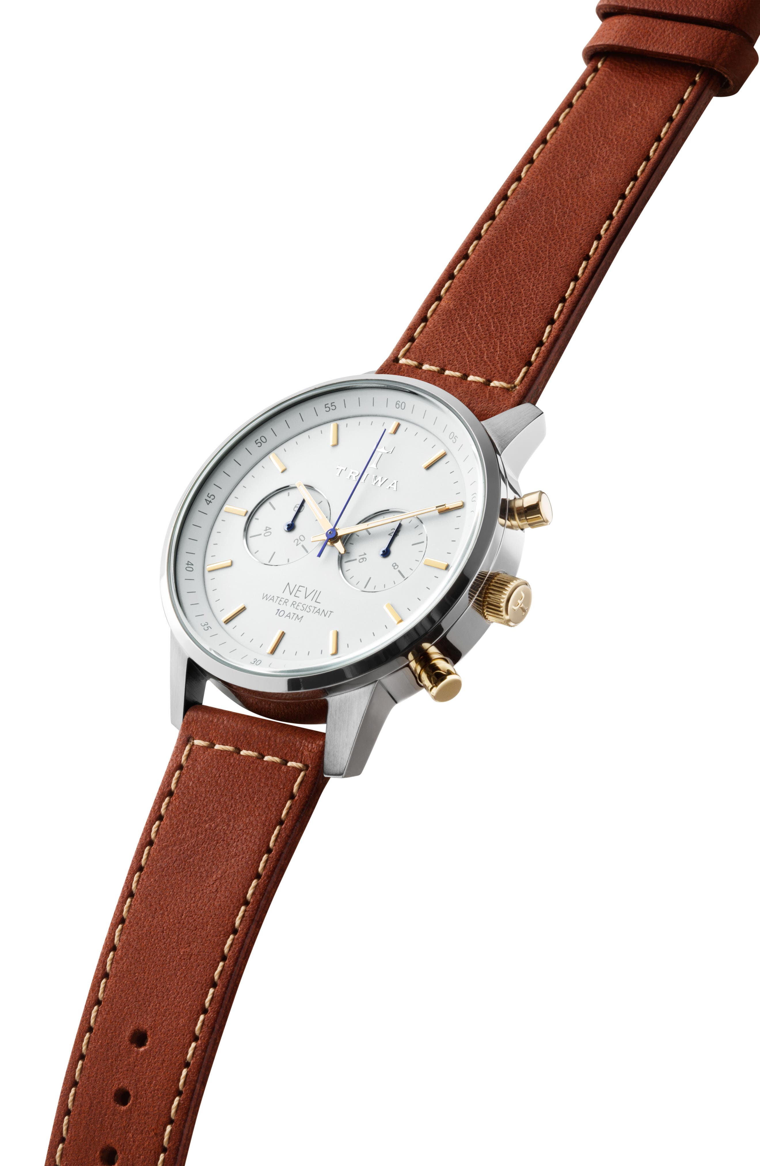 Snow Nevil Chronograph Leather Strap Watch, 42mm,                             Alternate thumbnail 2, color,                             BROWN/ WHITE/ SILVER