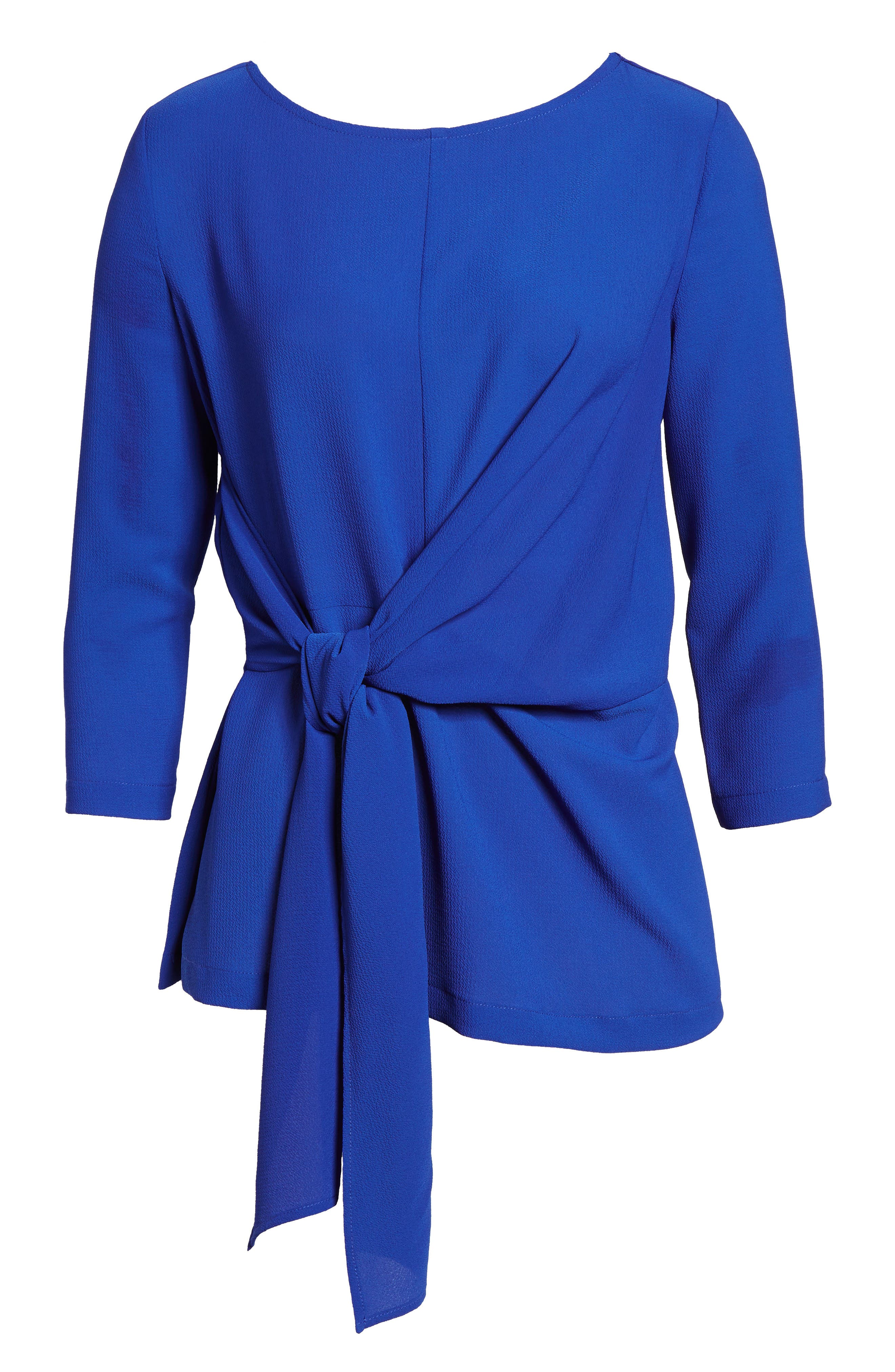 Tie Front Crepe Top,                             Alternate thumbnail 6, color,                             NEON ROYAL