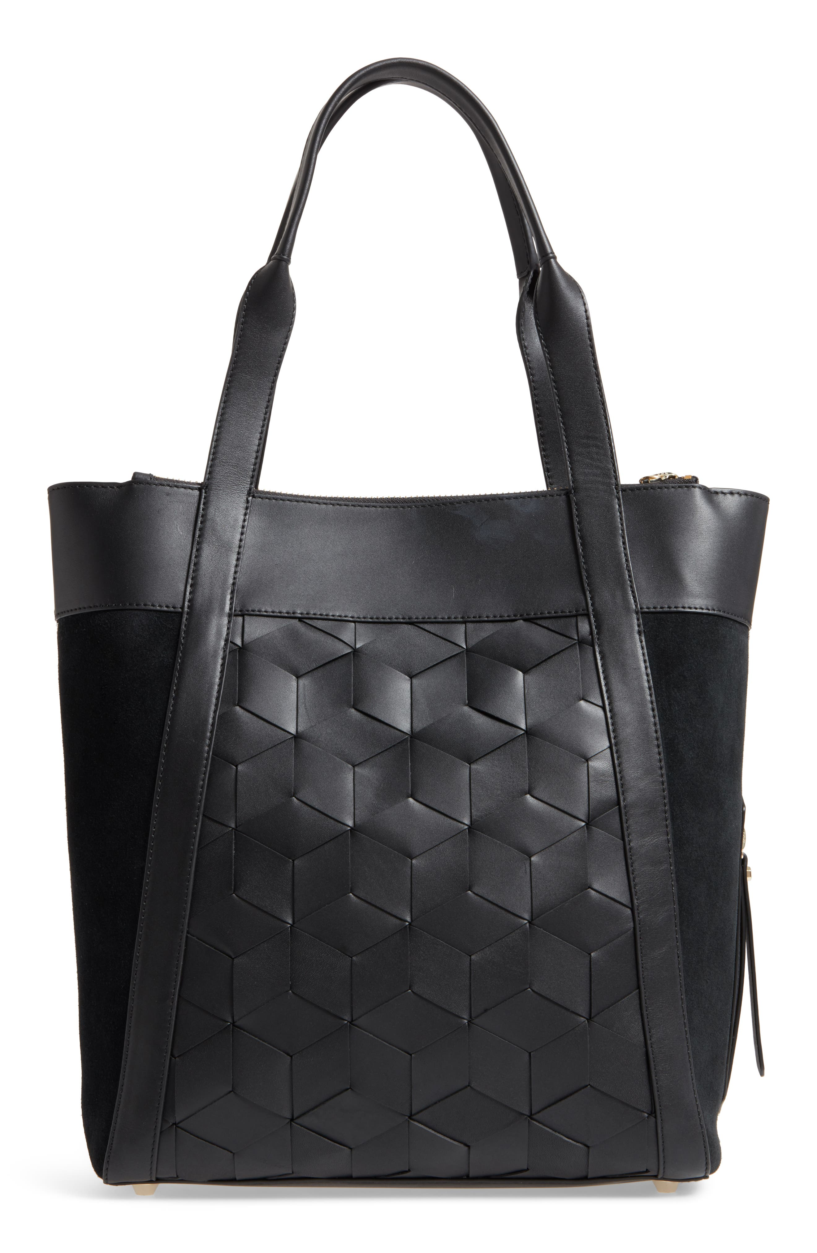 Northbound Suede & Leather Tote,                             Alternate thumbnail 3, color,                             001