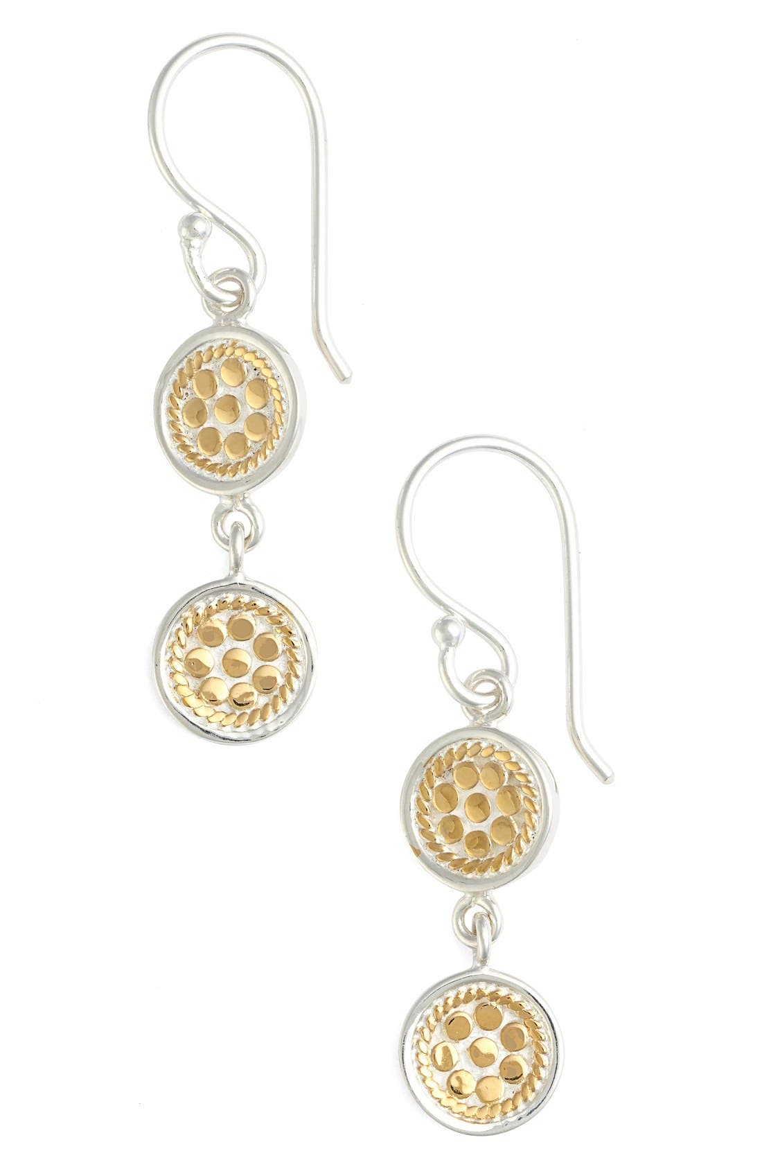 Double Disc Drop Earrings,                         Main,                         color, GOLD