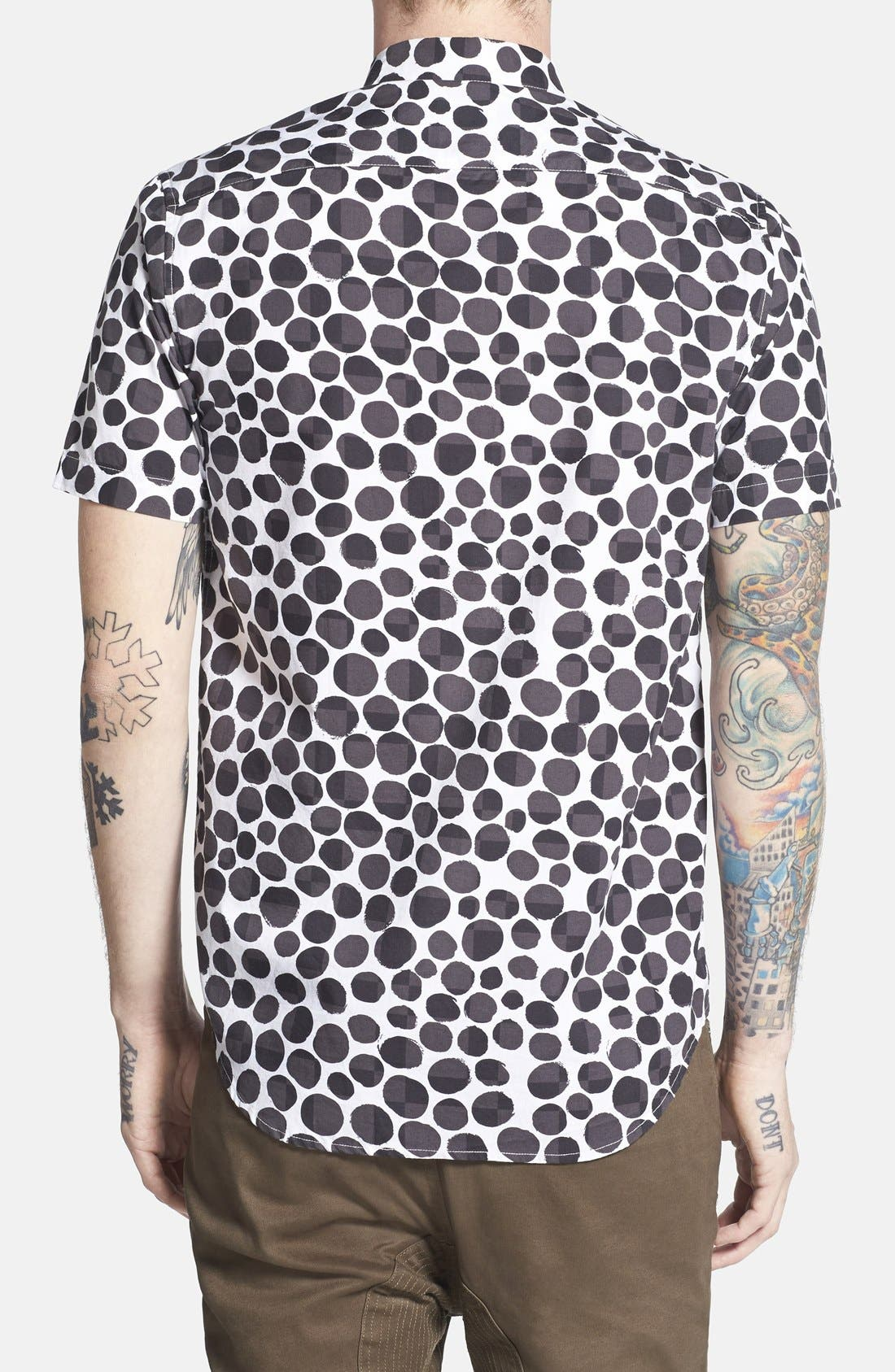 BARNEY COOLS,                             Trim Fit Short Sleeve Pebble Print Oxford Shirt,                             Alternate thumbnail 2, color,                             001