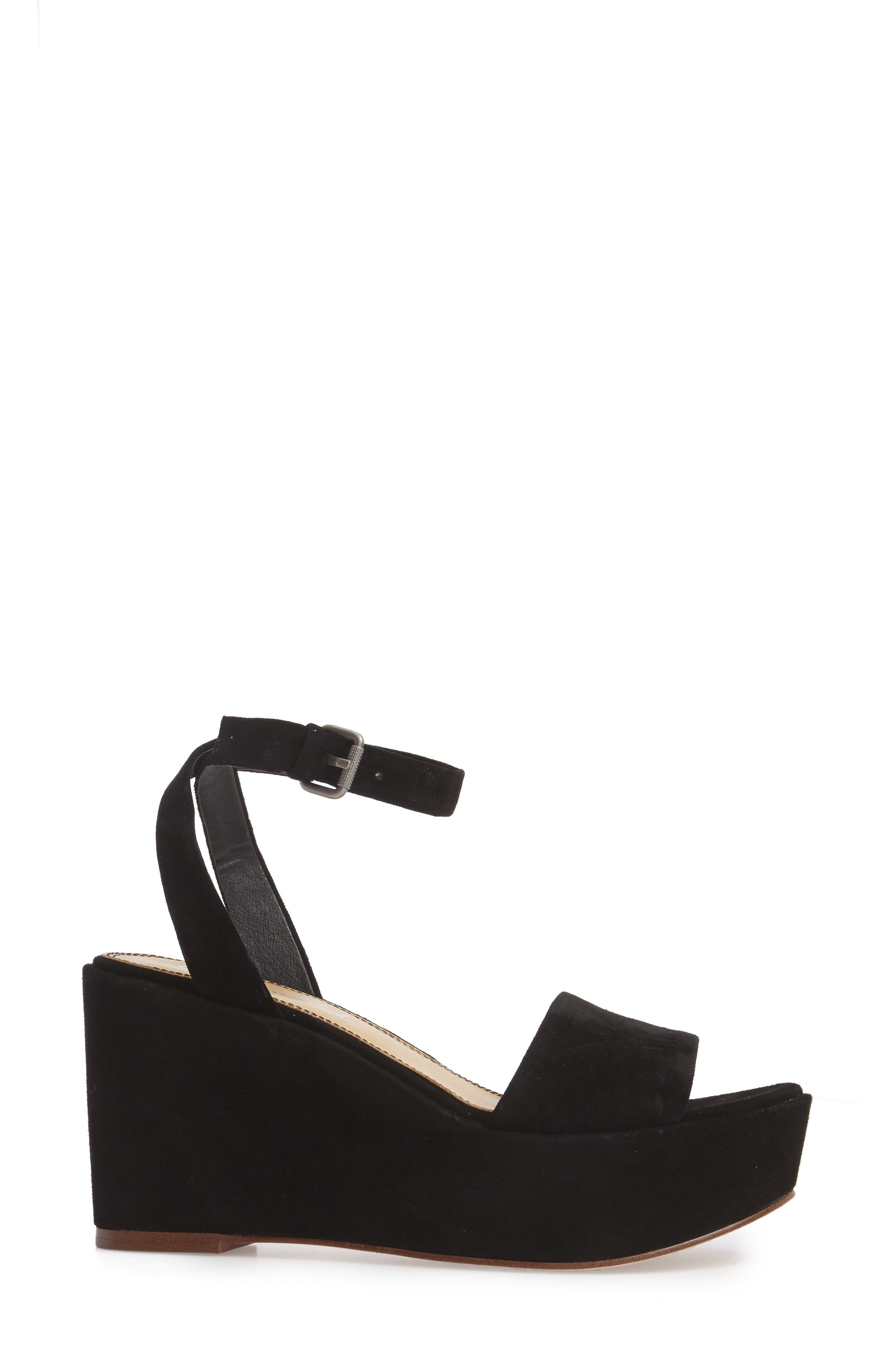 Felix Platform Wedge Sandal,                             Alternate thumbnail 3, color,                             BLACK SUEDE