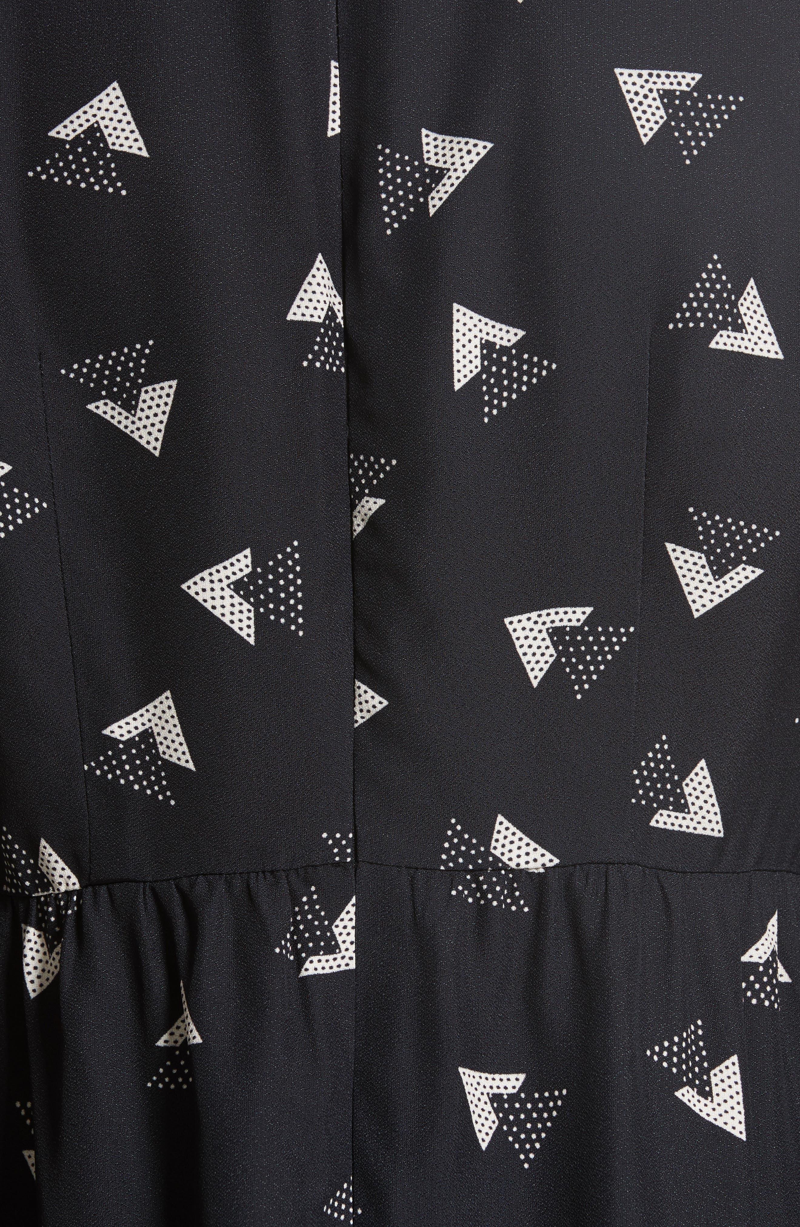 Geo Print Satin Back Crepe Dress,                             Alternate thumbnail 5, color,                             001