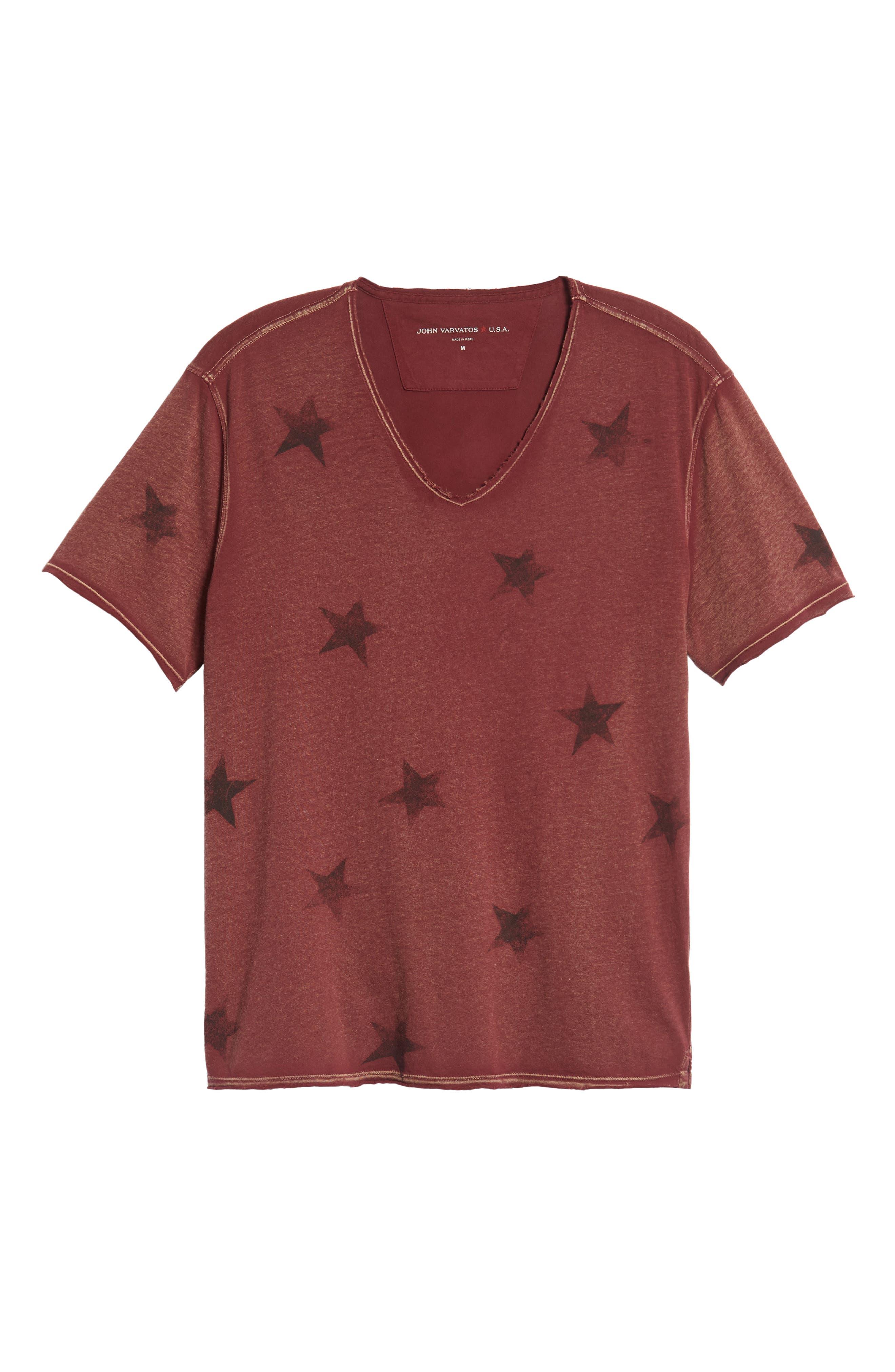 Star Print T-Shirt,                             Alternate thumbnail 6, color,                             OXBLOOD