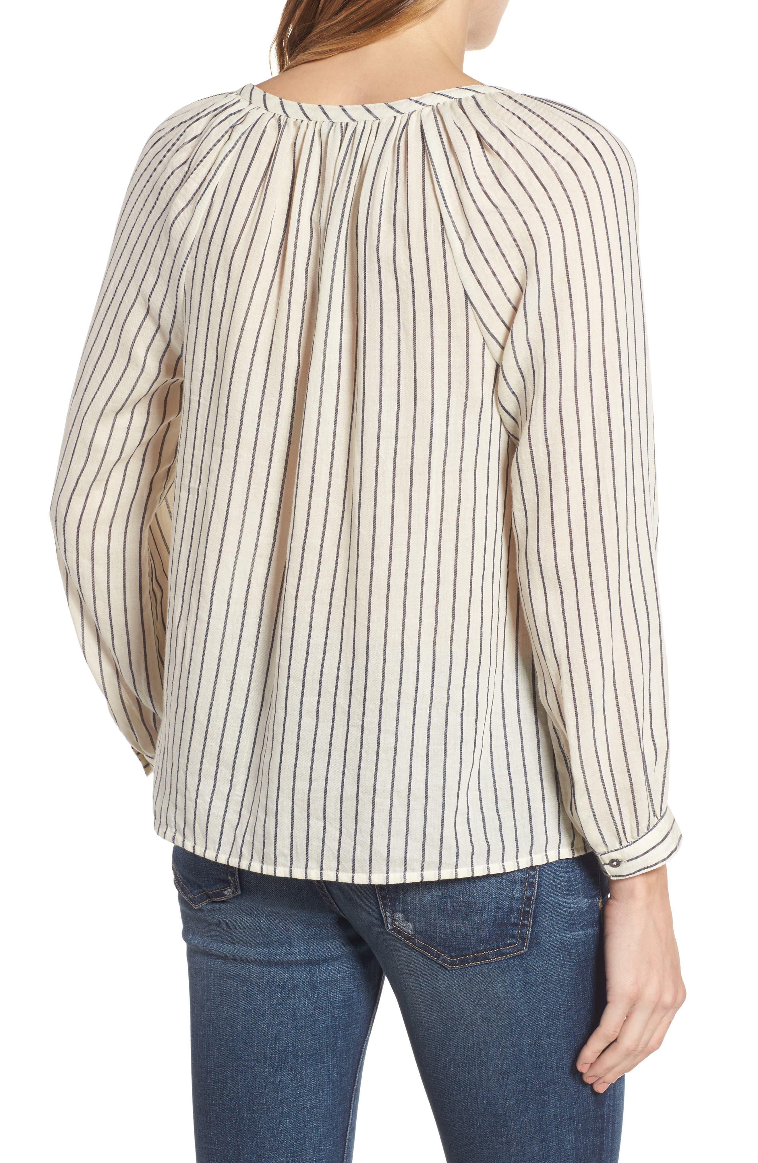 Stripe Peasant Blouse,                             Alternate thumbnail 2, color,                             006