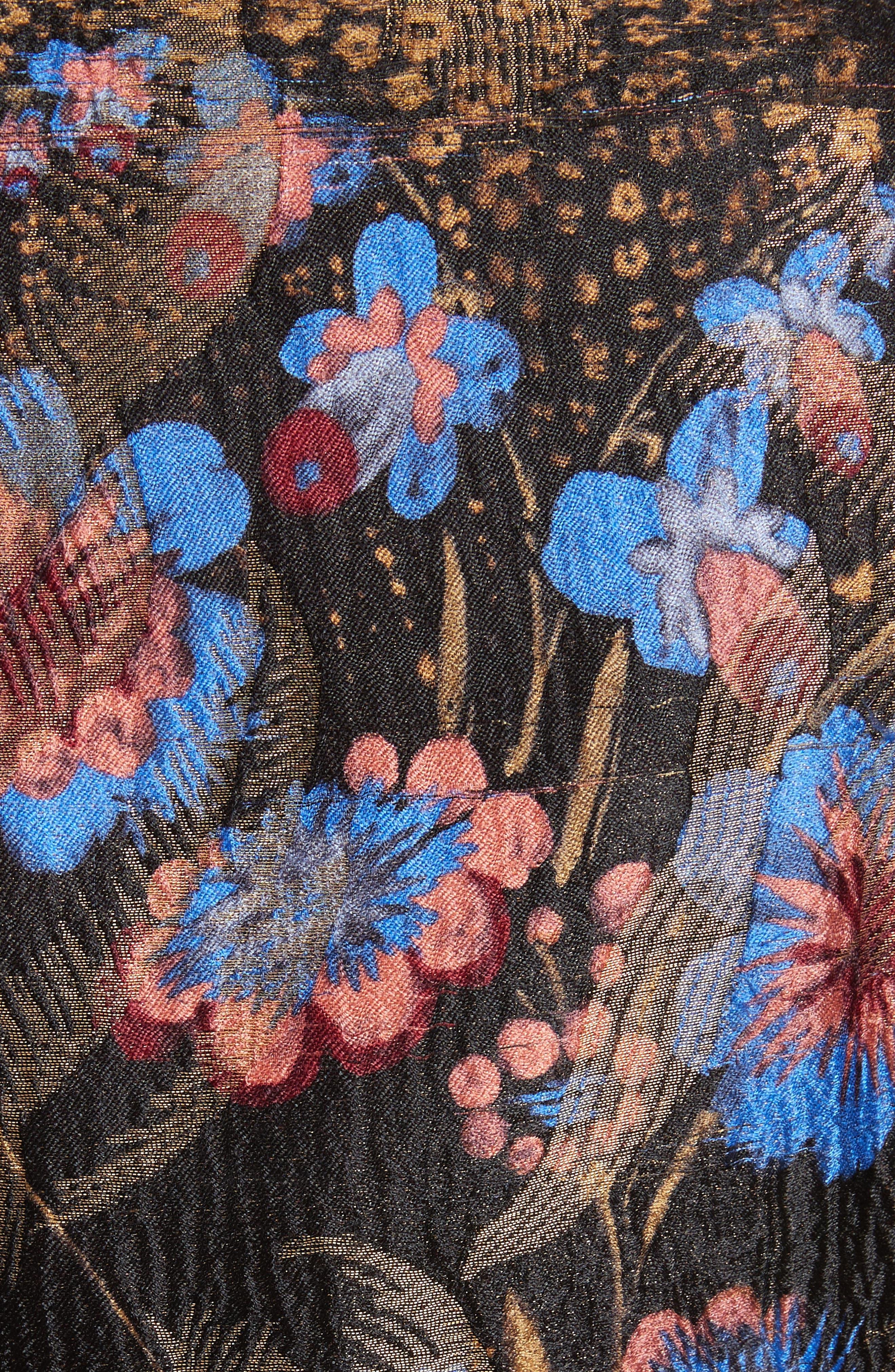 Metallic Floral Silk Blend Topper,                             Alternate thumbnail 6, color,                             001
