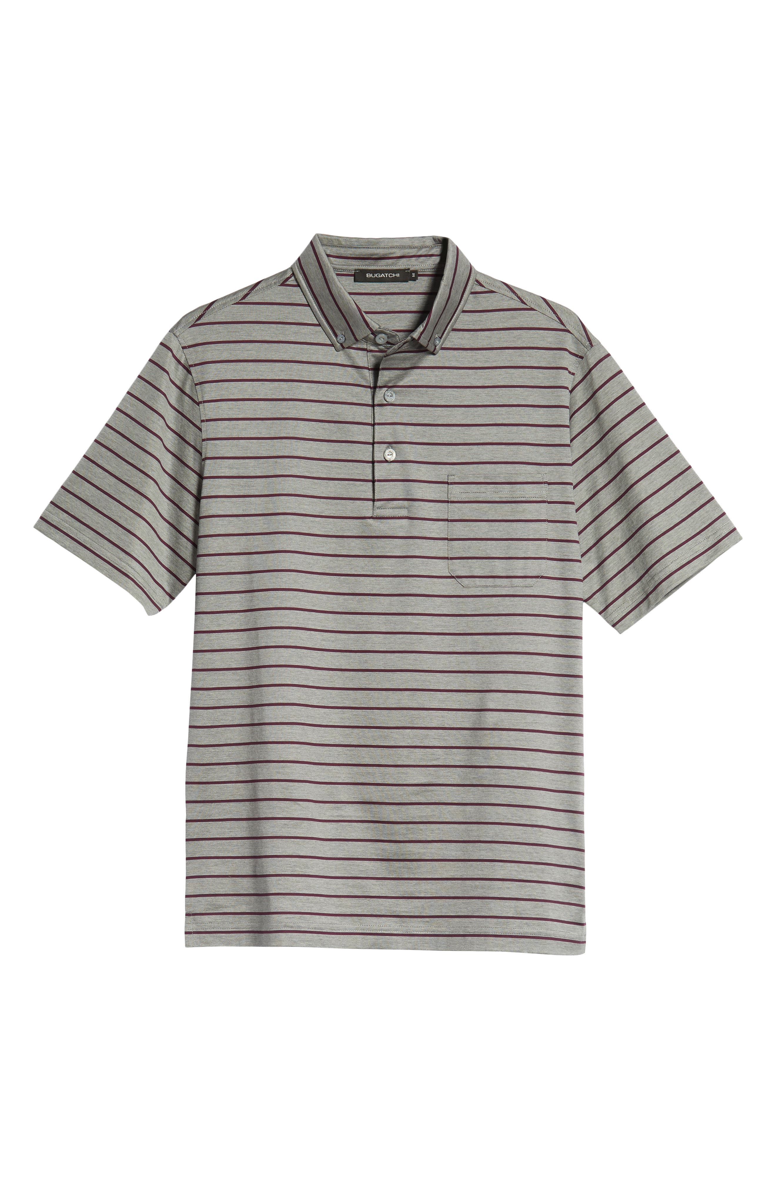 Stripe Knit Polo,                             Alternate thumbnail 6, color,                             PLATINUM