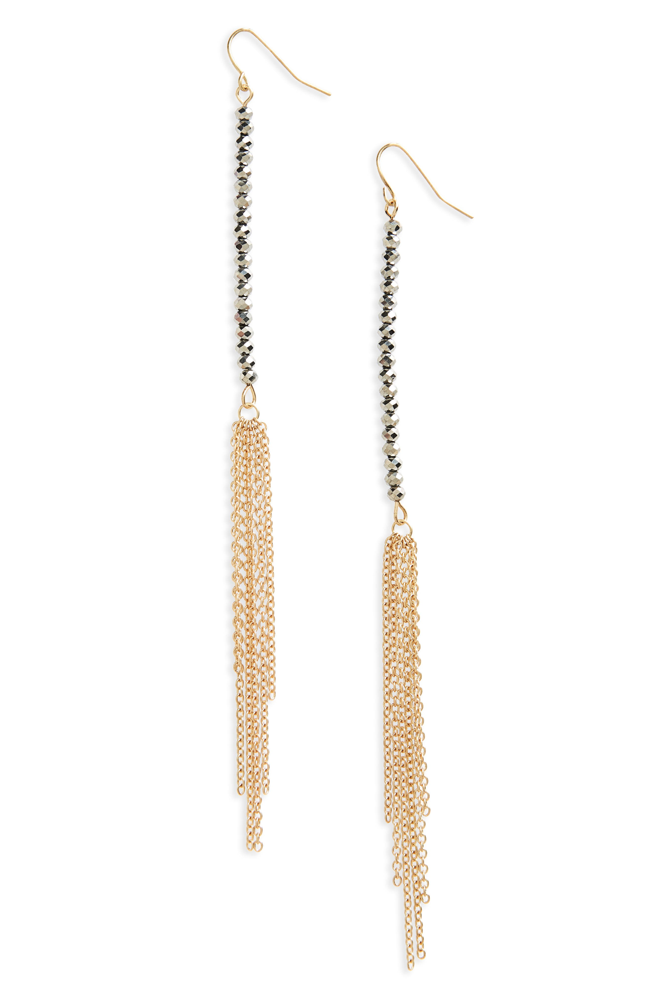 Beaded Linear Earrings,                             Main thumbnail 2, color,