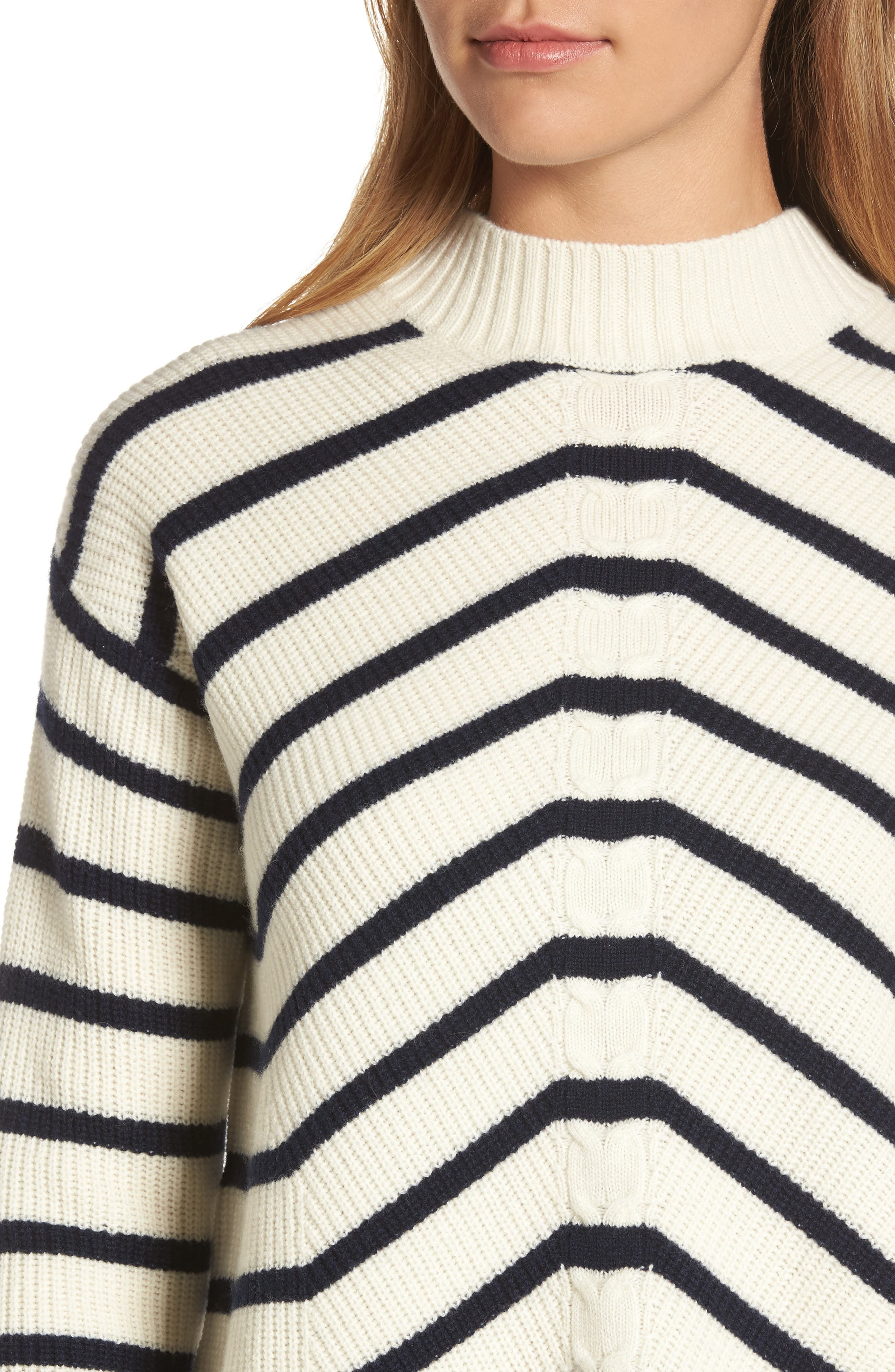 Stripe Fisherman Sweater,                             Alternate thumbnail 4, color,                             111