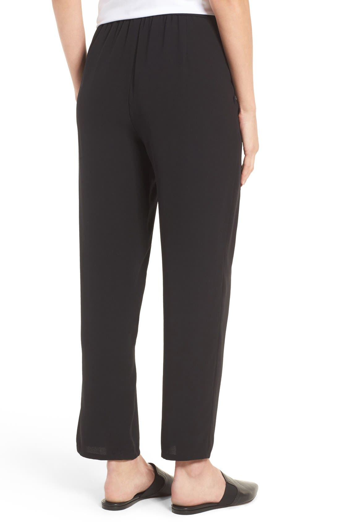 Silk Georgette Crepe Straight Ankle Pants,                             Alternate thumbnail 2, color,                             001