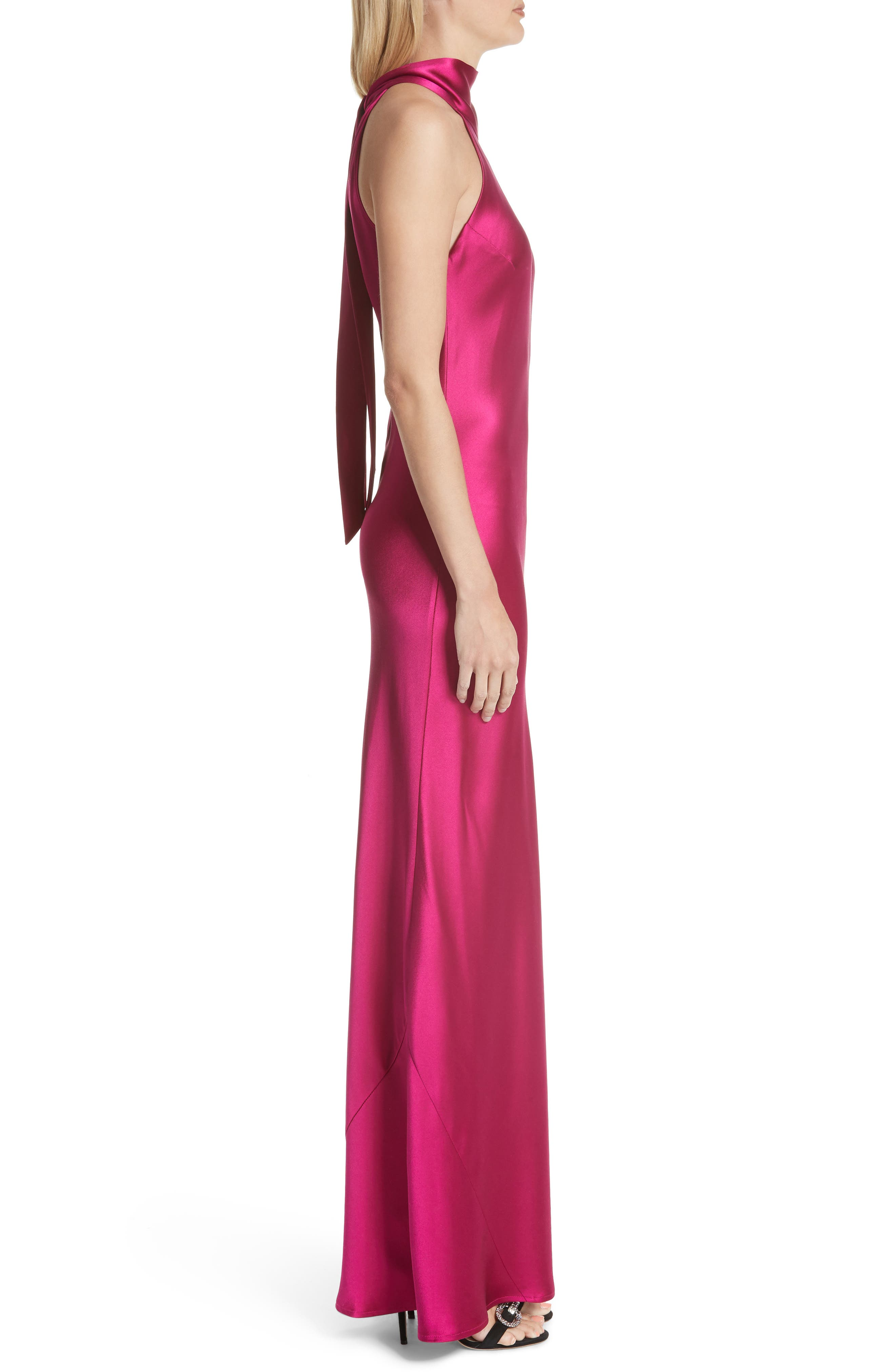Silk Mock Neck Gown,                             Alternate thumbnail 3, color,                             RASPBERRY